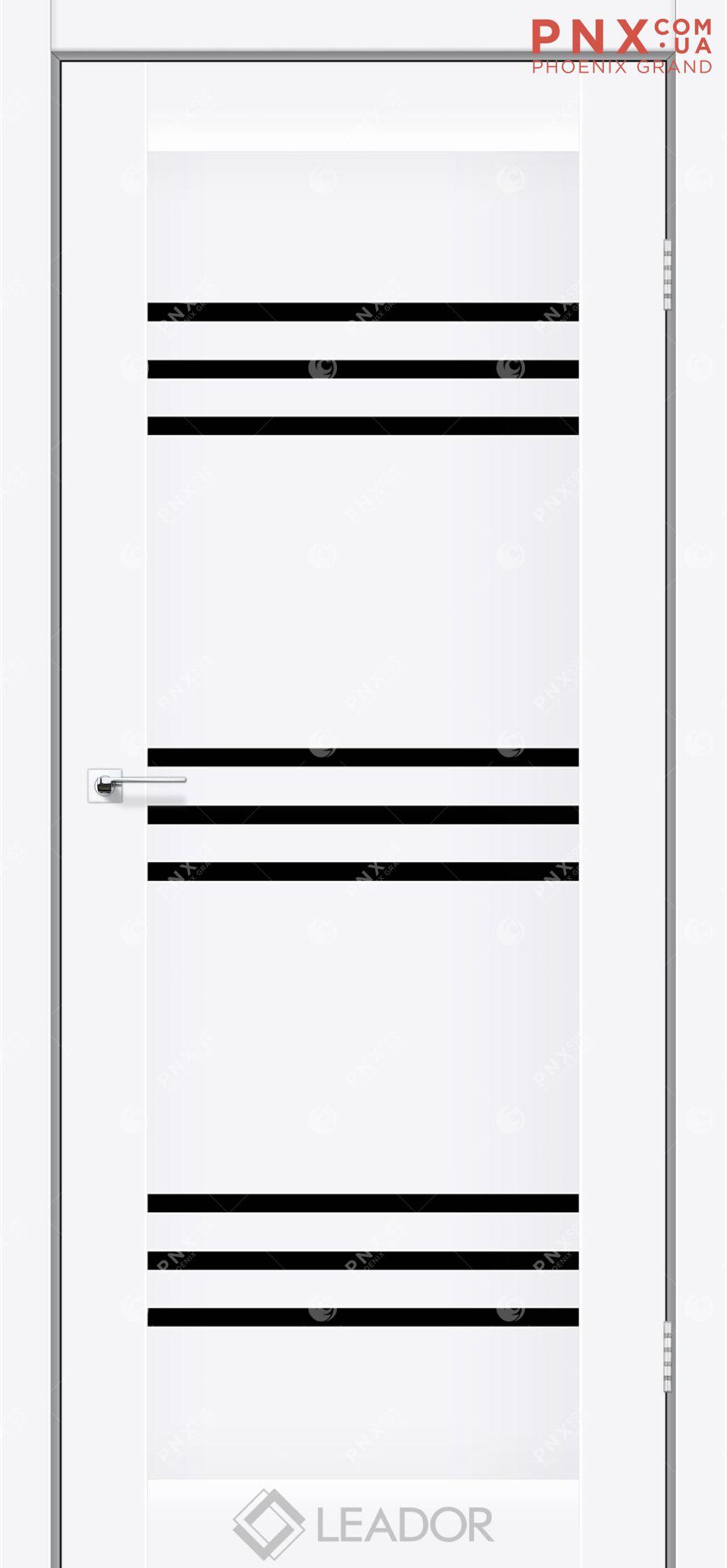 Межкомнатная дверь LEADOR Sovana, Белый матовый, Черное стекло