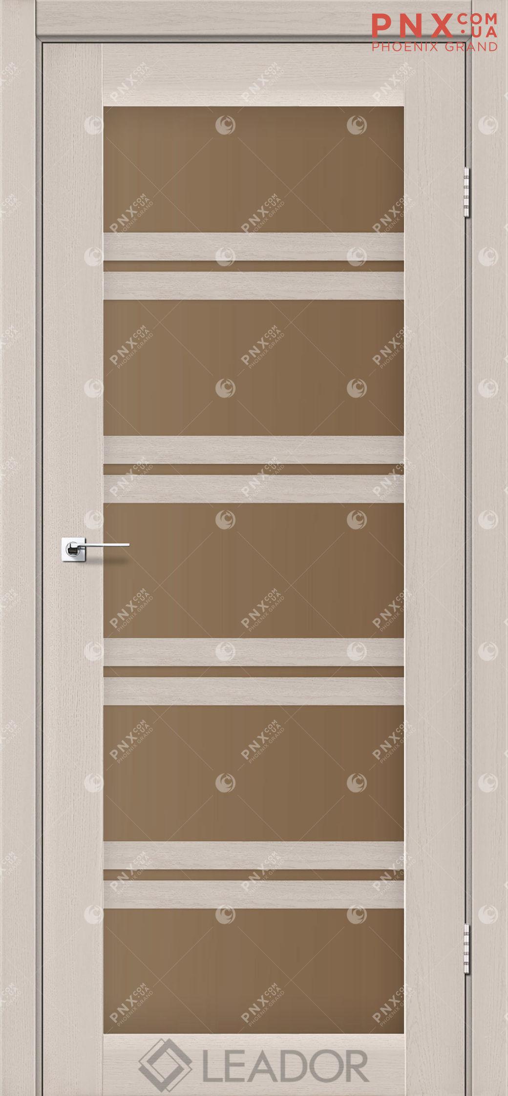 Межкомнатная дверь LEADOR Lodi, Дуб Латте, Стекло сатин бронза