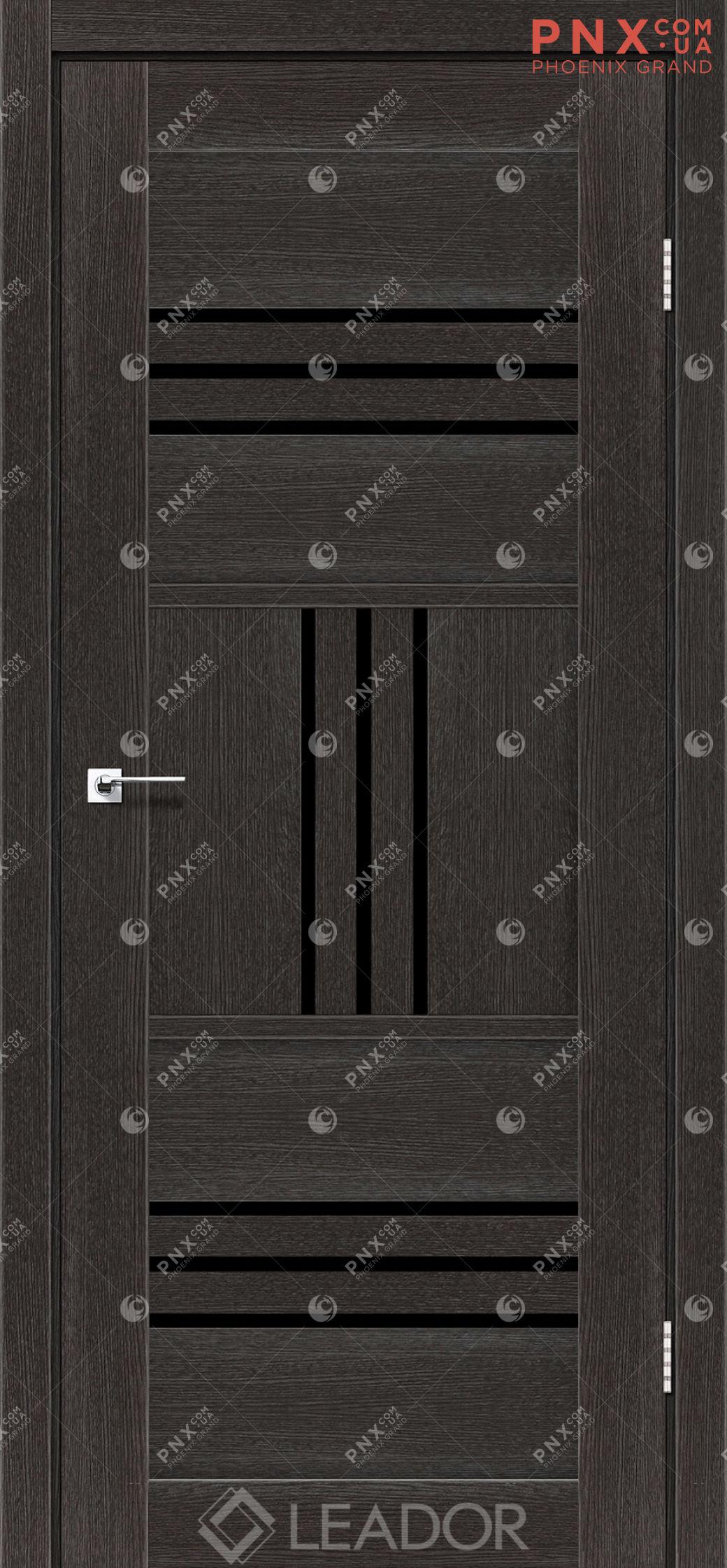 Межкомнатная дверь LEADOR Gela, Дуб Саксонский, Черное стекло