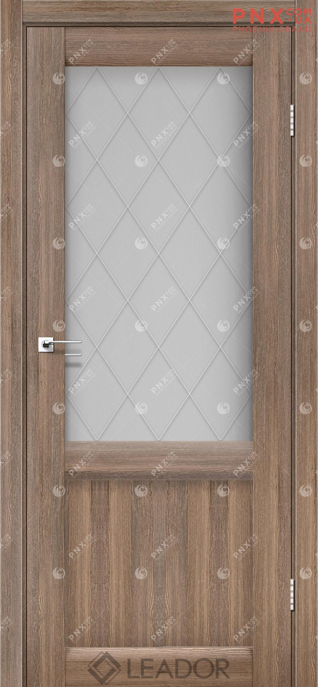 Межкомнатная дверь LEADOR Laura LR-01, Серое дерево, Белое стекло сатин+L1