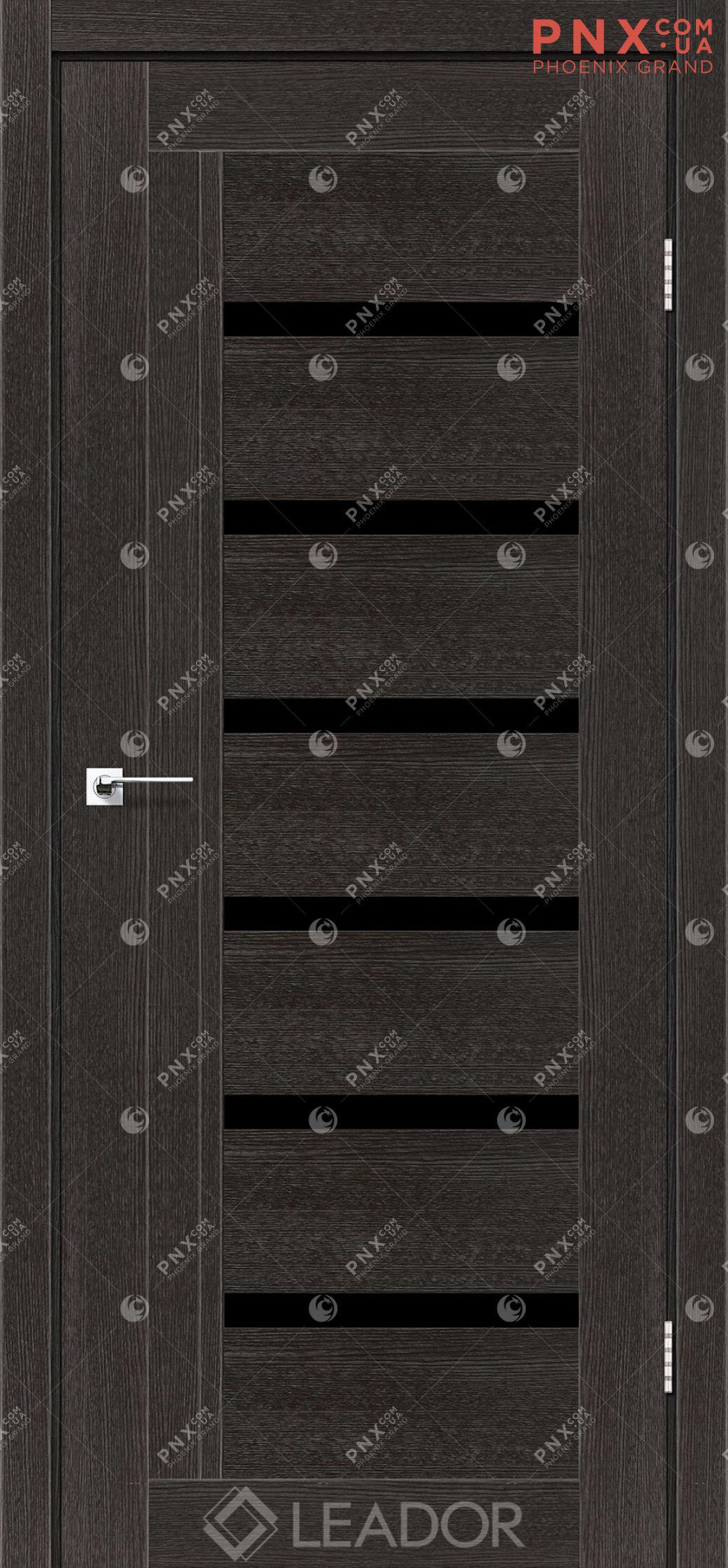 Межкомнатная дверь LEADOR Amelia, Дуб Саксонский, Черное стекло