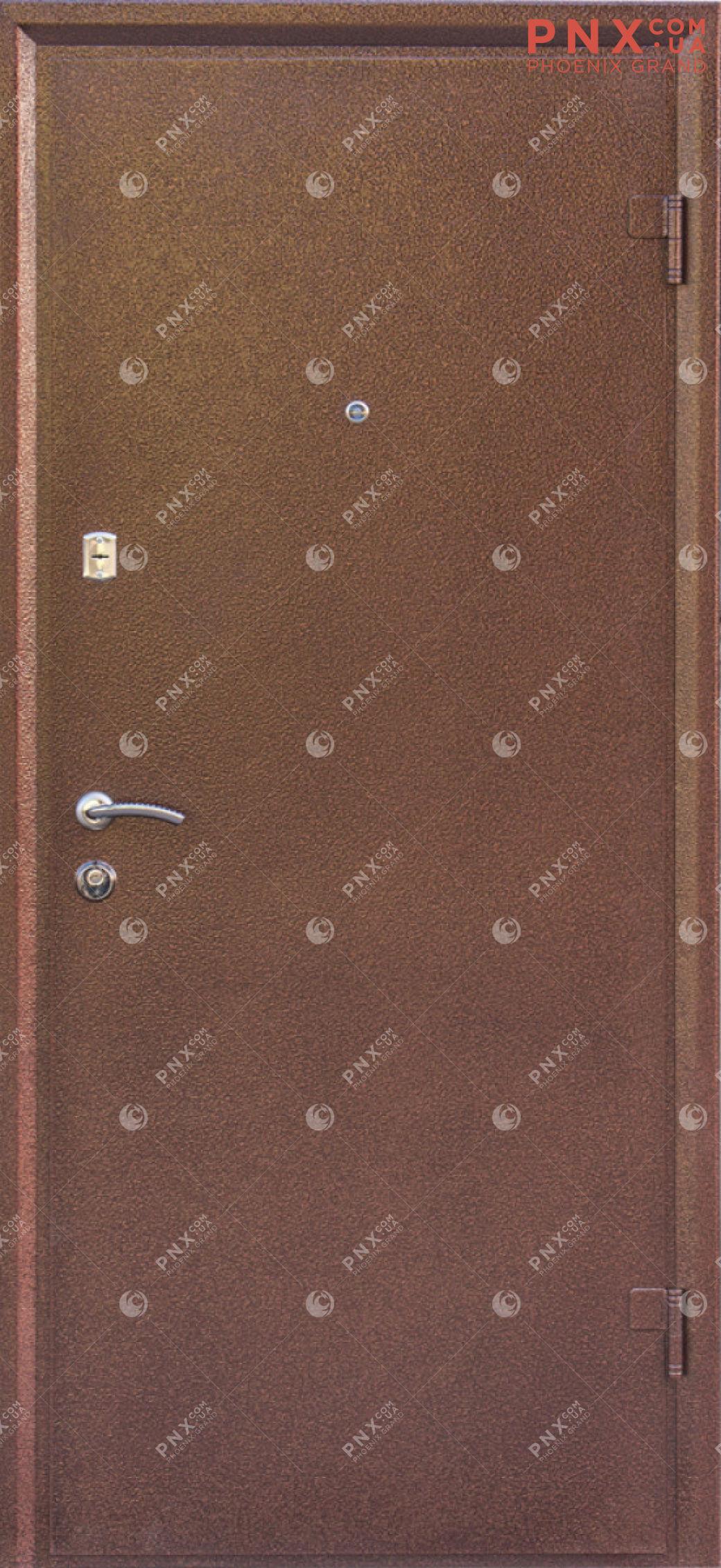 Входная дверь Форт Нокс, Гранд, металл/мдф Антик медь/Орех мореный DА-8