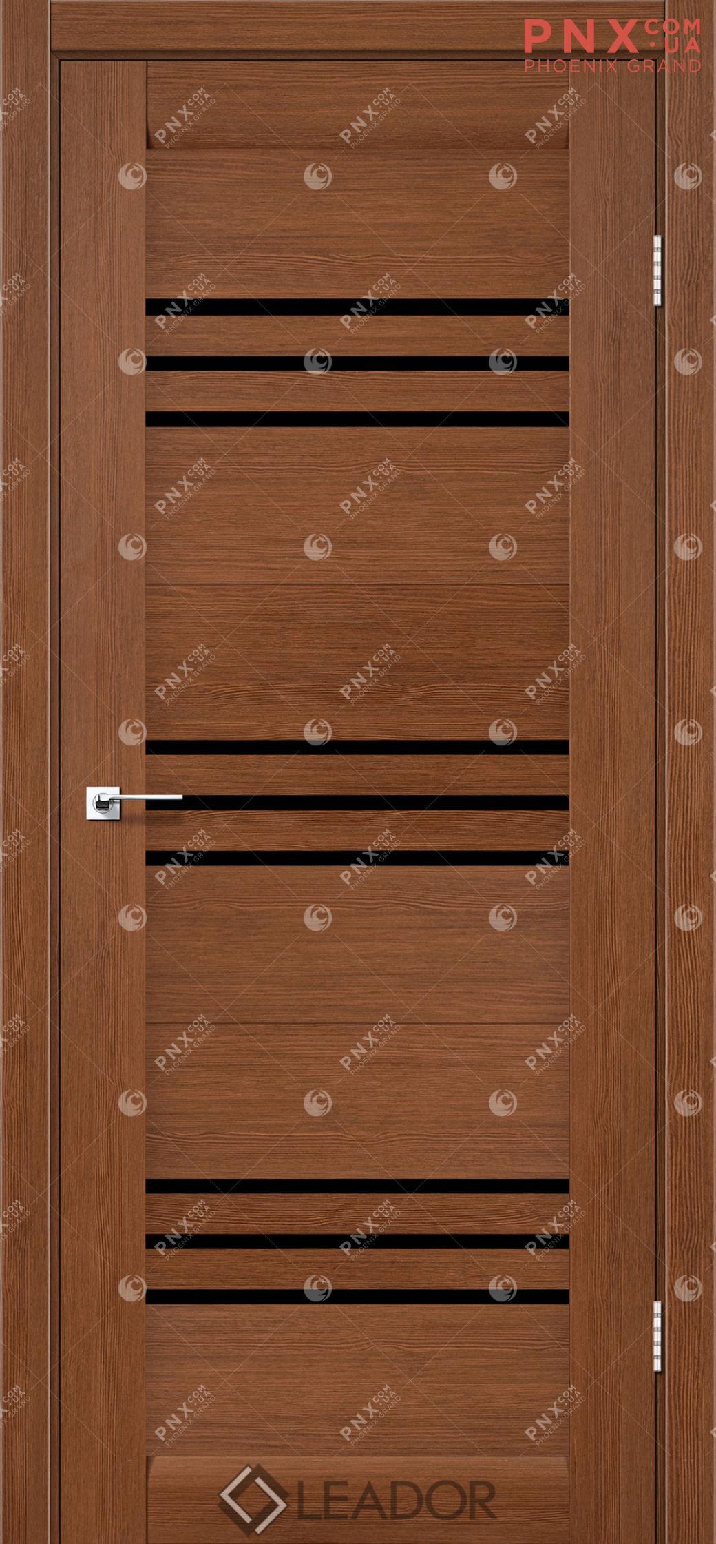 Межкомнатная дверь LEADOR Sovana, Браун, Черное стекло