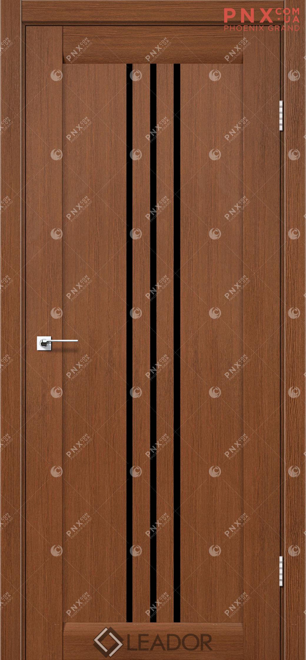 Межкомнатная дверь LEADOR Verona, Браун, Черное стекло