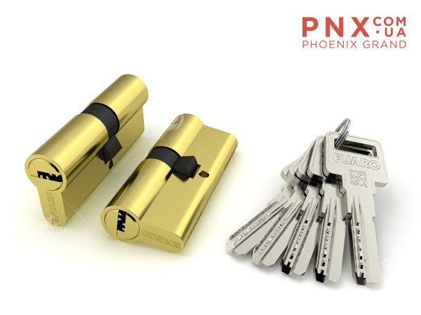 Цилиндровый механизм R600/60 mm (25+10+25) PB латунь 5 кл. FUARO (с индивидуальным ключом)