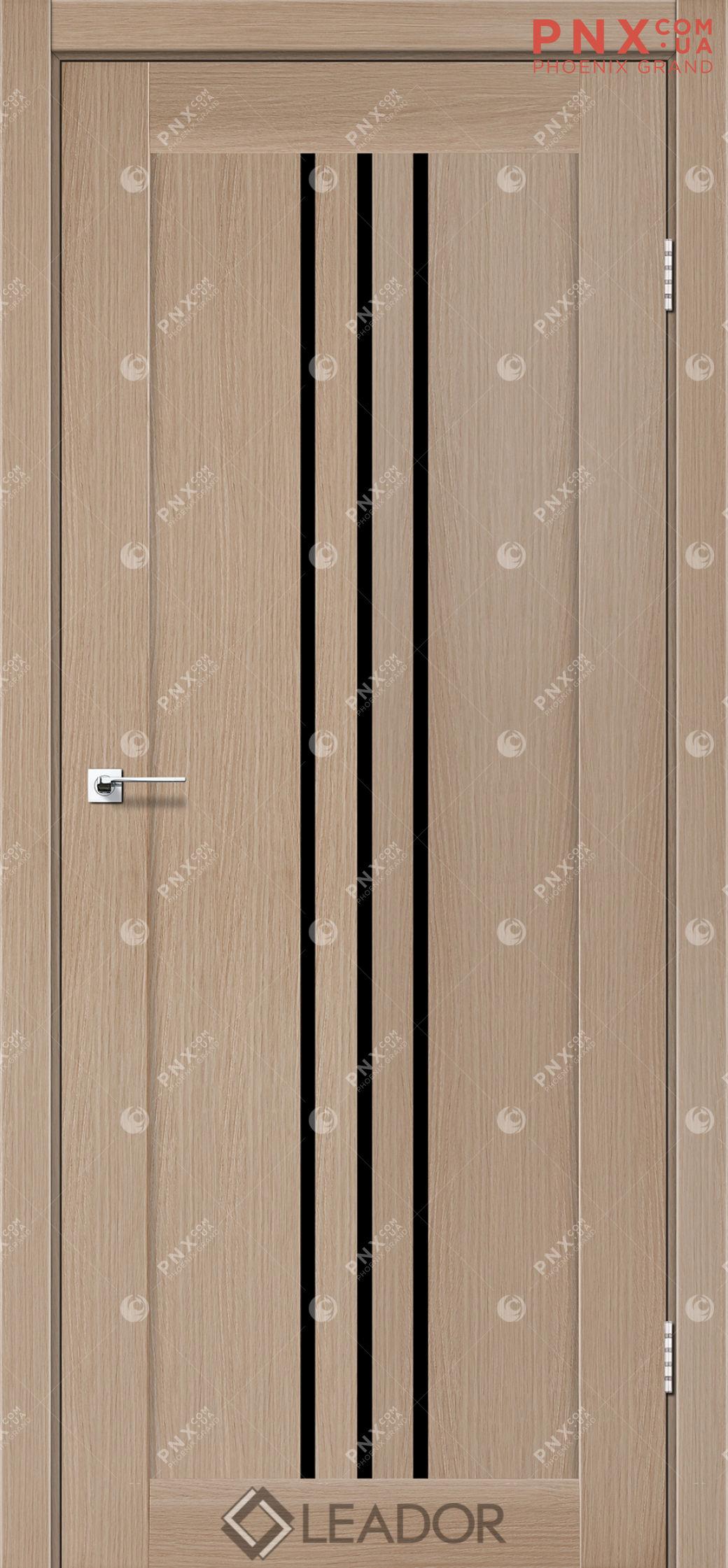 Межкомнатная дверь LEADOR Verona, Дуб Мокко, Черное стекло