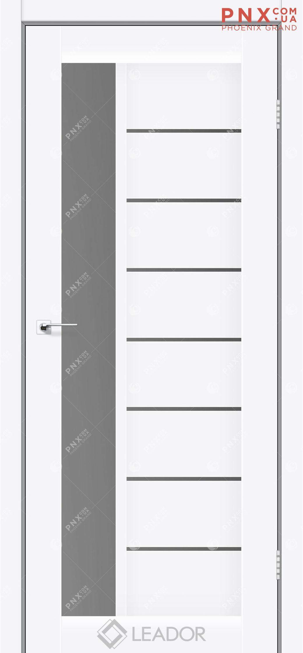 Межкомнатная дверь LEADOR Lorenza, Белый матовый, Стекло серый графит