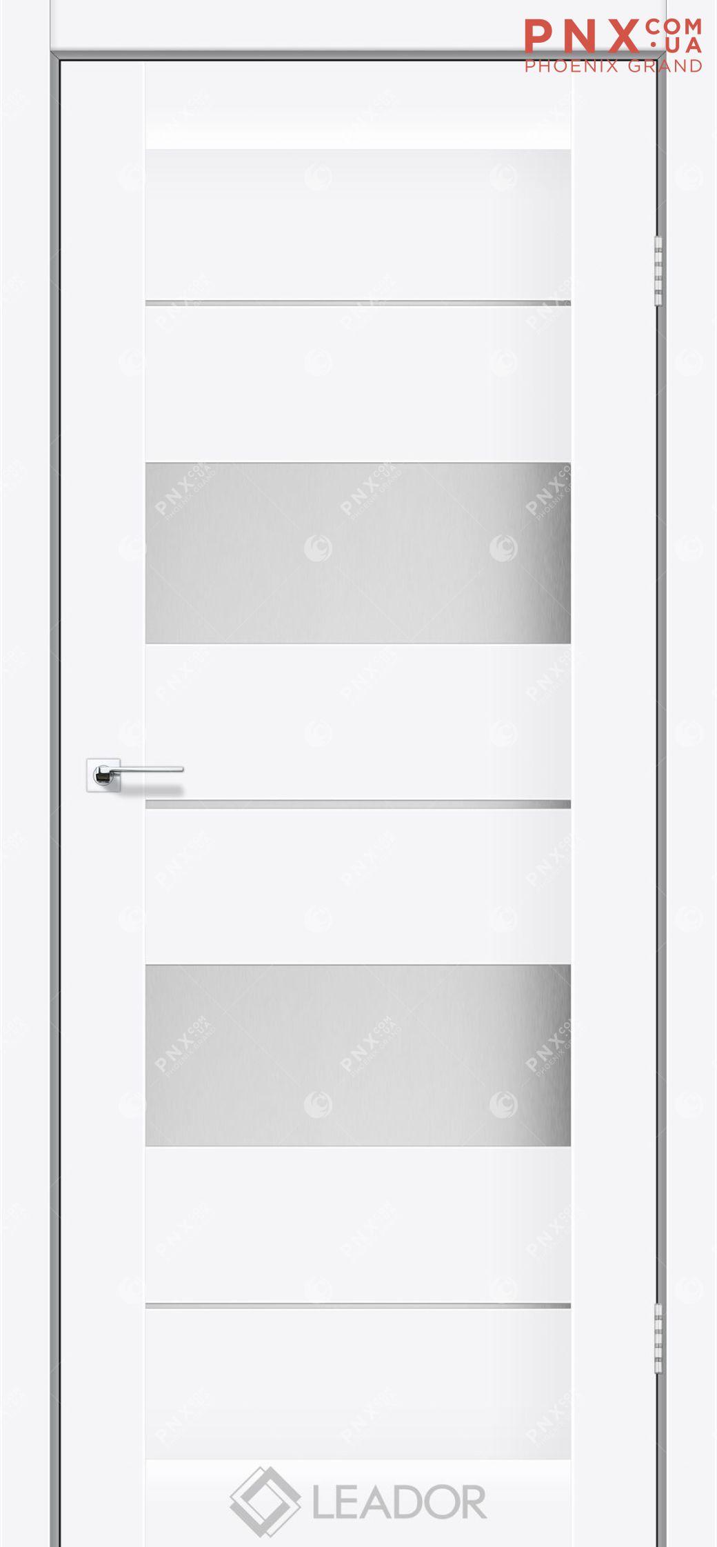 Межкомнатная дверь LEADOR Canneli, Белый матовый, Белое стекло сатин