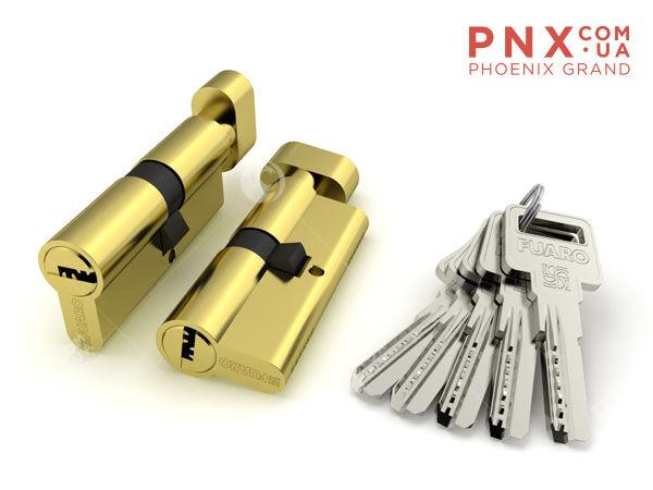 Цилиндровый механизм с вертушкой R602/70 mm (30+10+30) PB латунь 5 кл. FUARO (с индивидуальным ключом)