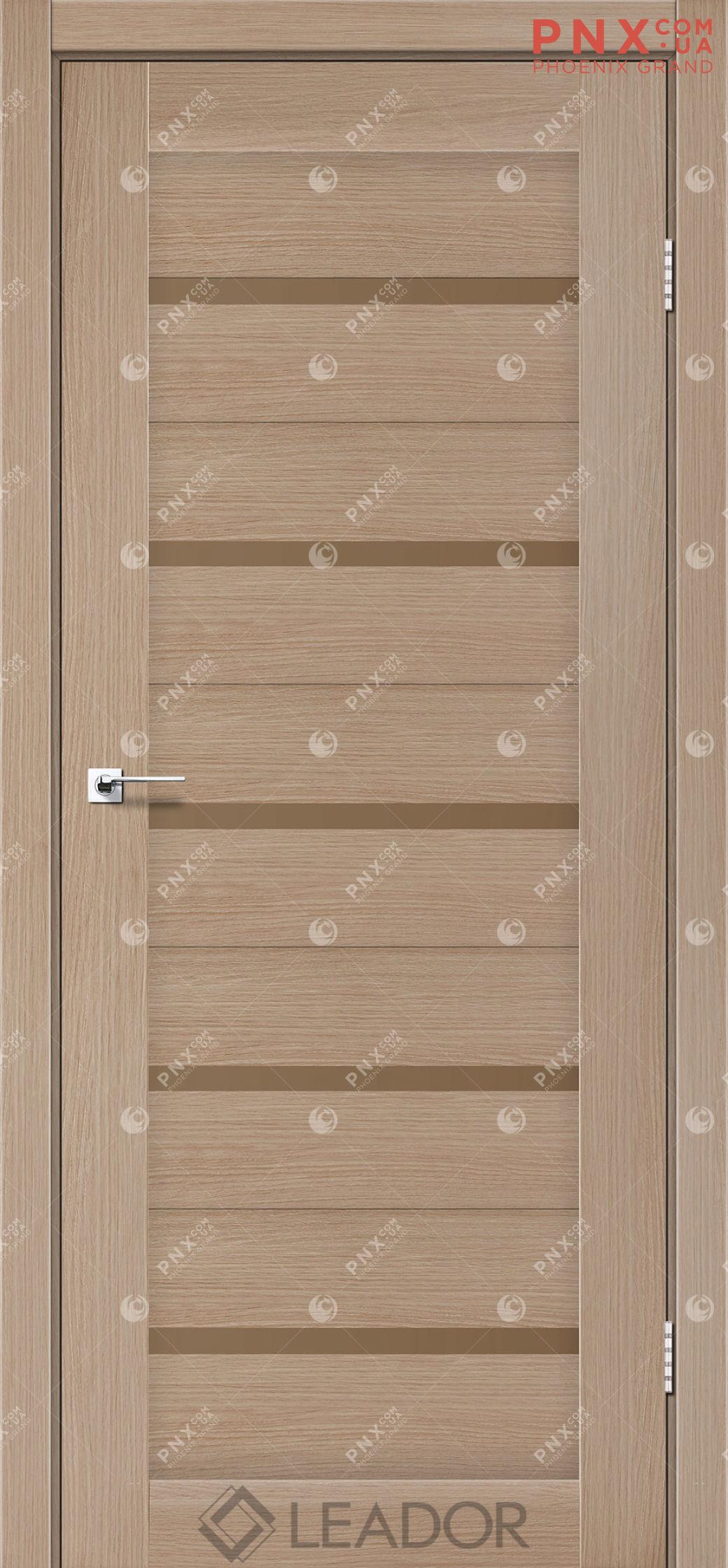 Межкомнатная дверь LEADOR Siena, Дуб Мокко, Стекло сатин бронза