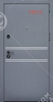 Входная дверь Форт Нокс, Стрит, металл/мдф муар7024+флюминиевый молдинг/спил белый