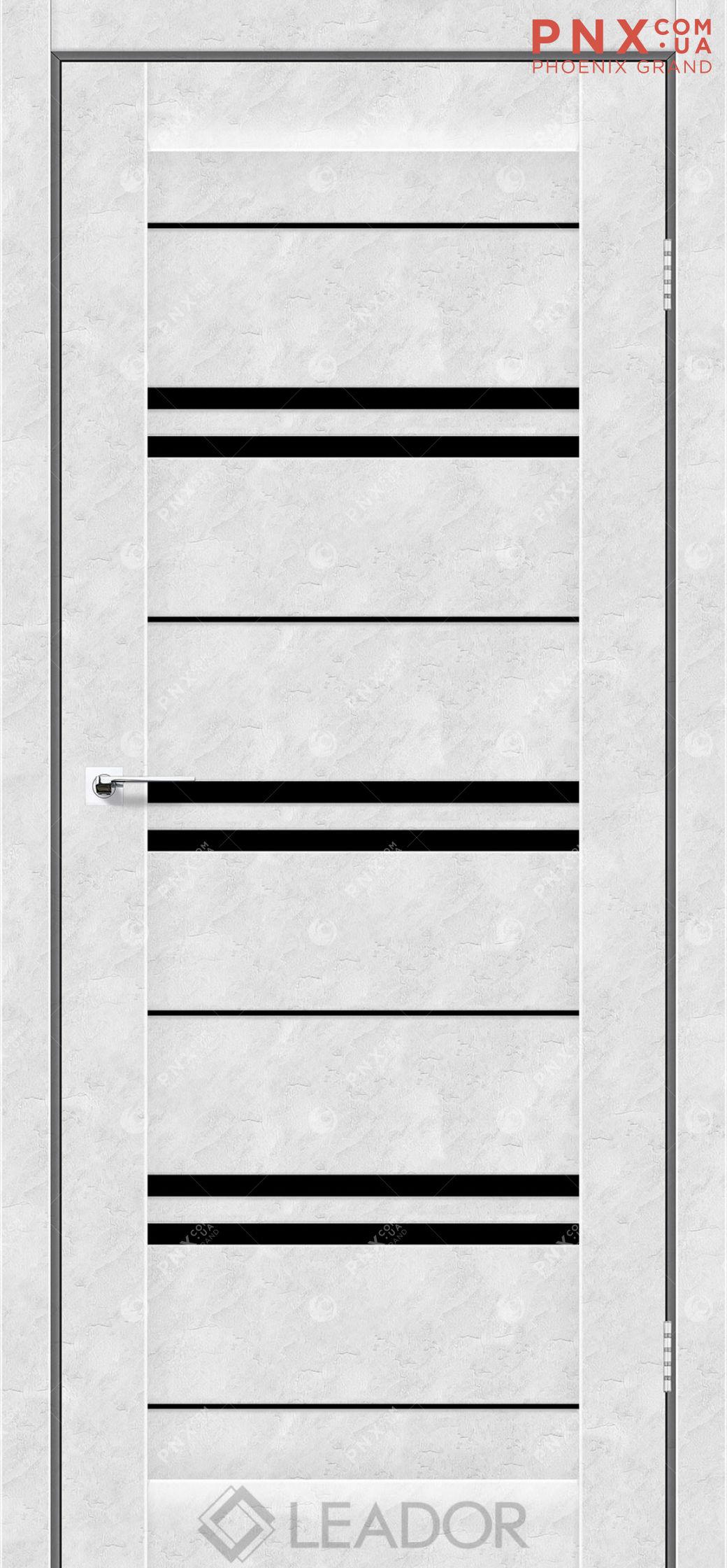 Межкомнатная дверь LEADOR Malta, Бетон Белый, Черное стекло