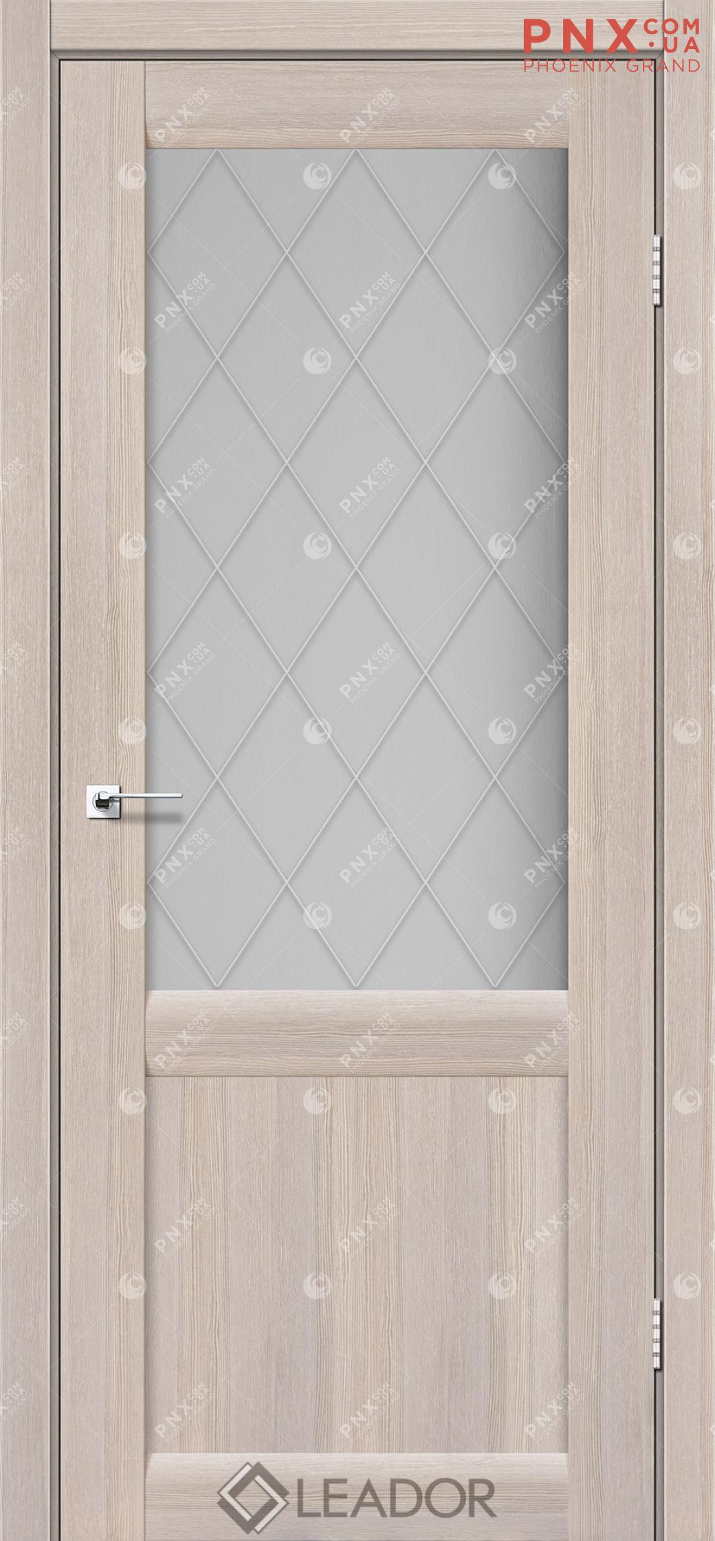 Межкомнатная дверь LEADOR Laura LR-01, Монблан, Белое стекло сатин+L1