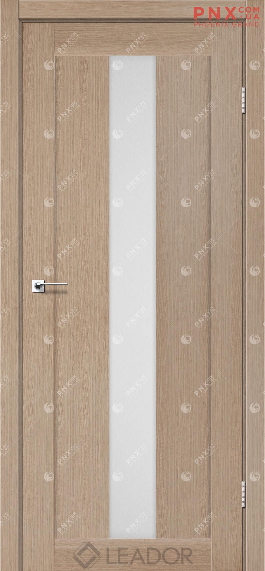 Межкомнатная дверь LEADOR Bari, Дуб Мокко, Белое стекло сатин