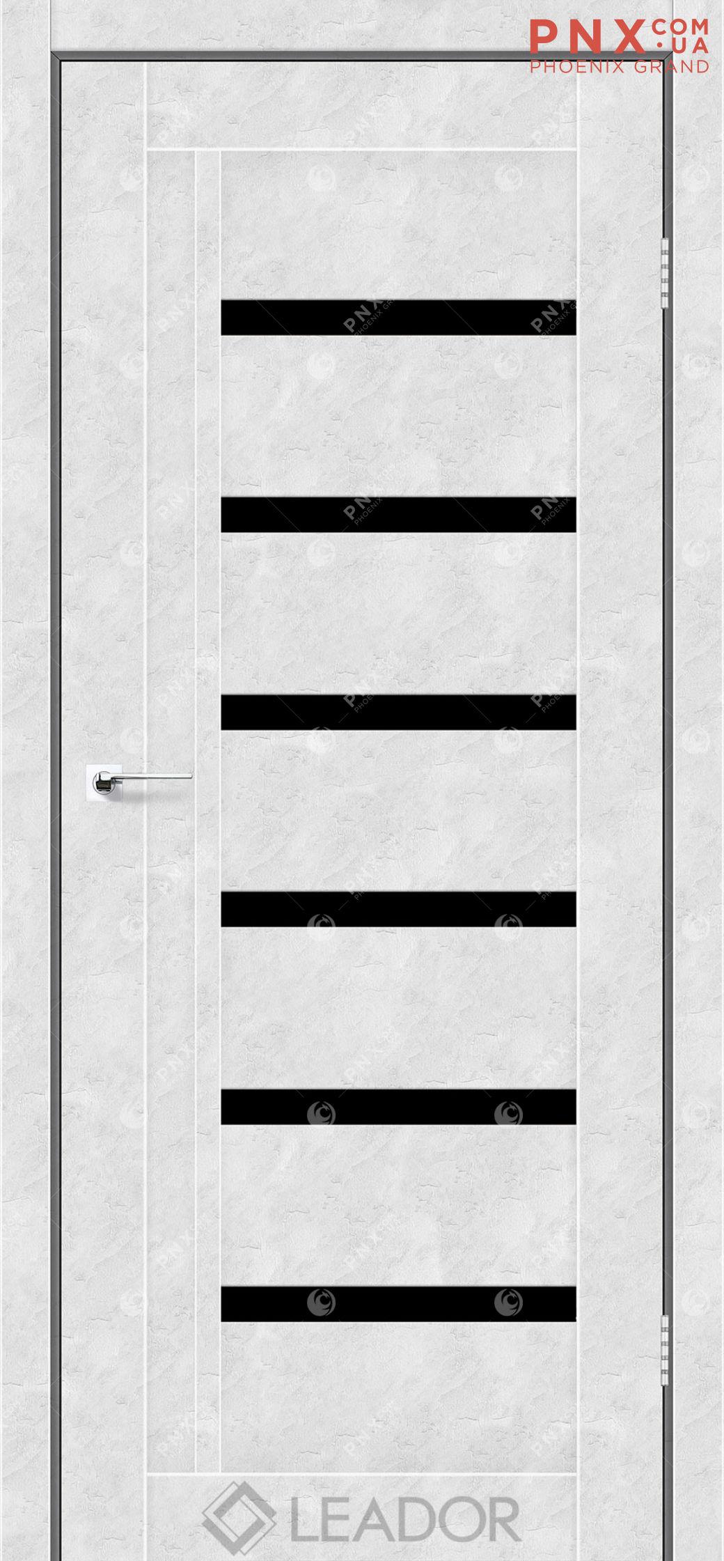Межкомнатная дверь LEADOR Amelia, Бетон Белый, Черное стекло
