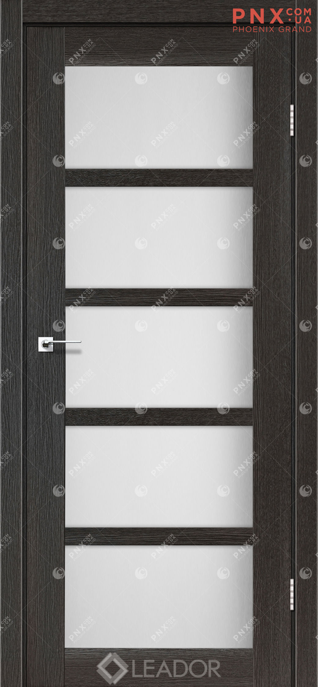 Межкомнатная дверь LEADOR Veneto, Дуб Саксонский, Белое стекло сатин