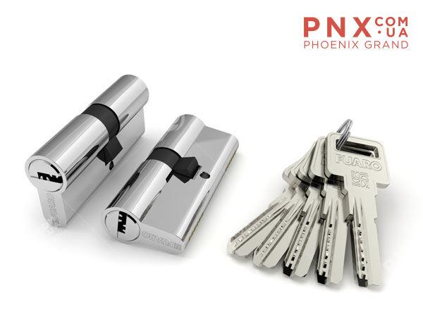 Цилиндровый механизм R600/70 mm (30+10+30) CP хром 5 кл. FUARO (с индивидуальным ключом)