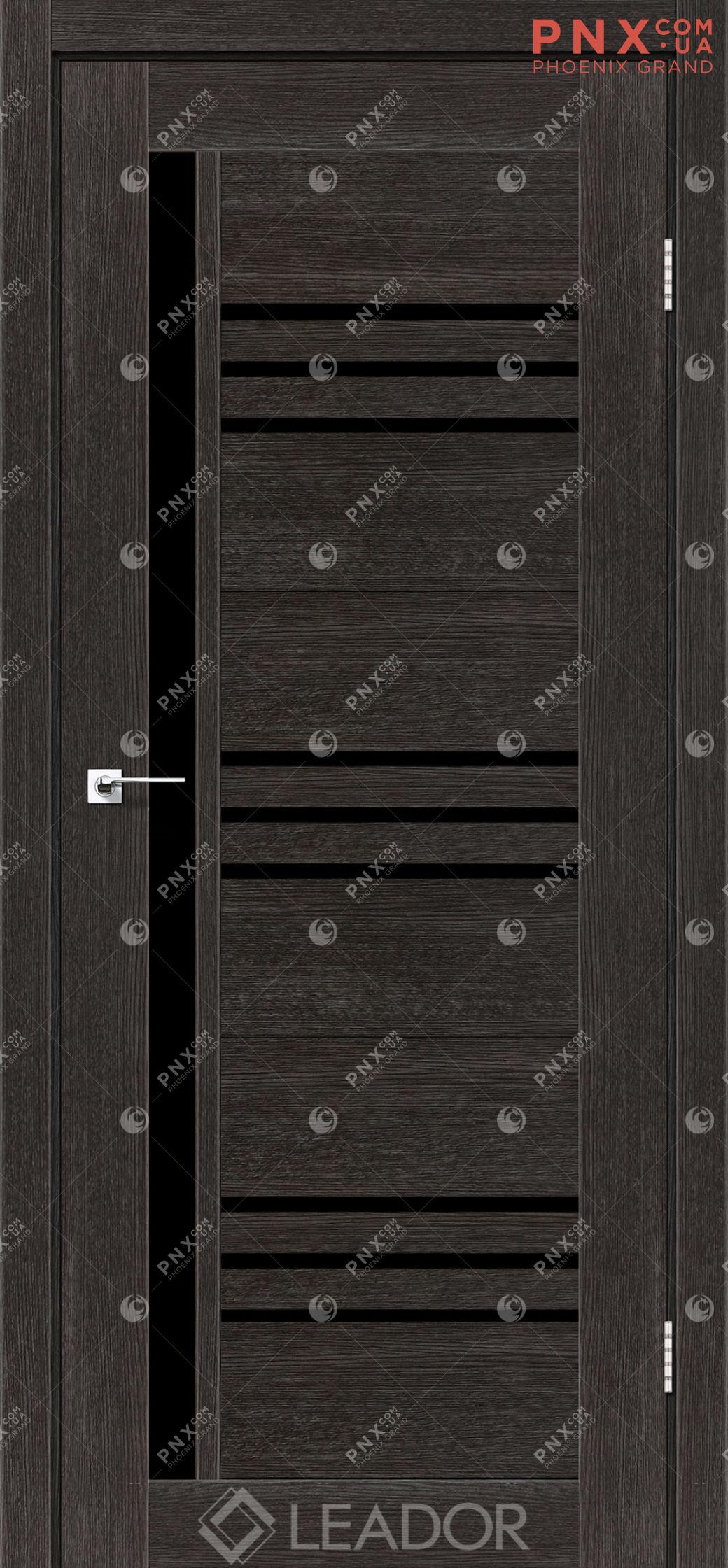 Межкомнатная дверь LEADOR Compania, Дуб Саксонский, Черное стекло