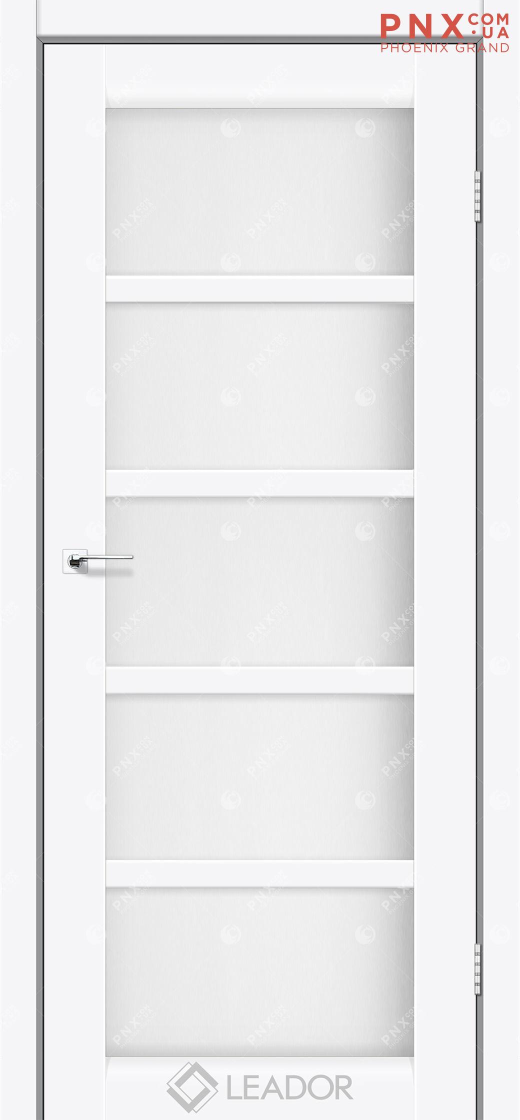 Межкомнатная дверь LEADOR Veneto, Белый матовый, Белое стекло сатин