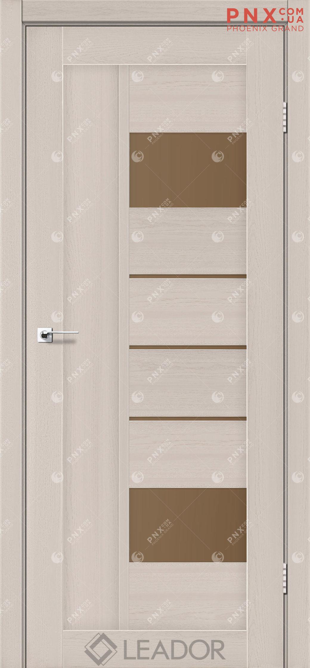 Межкомнатная дверь LEADOR Como, Дуб Латте, Стекло сатин бронза