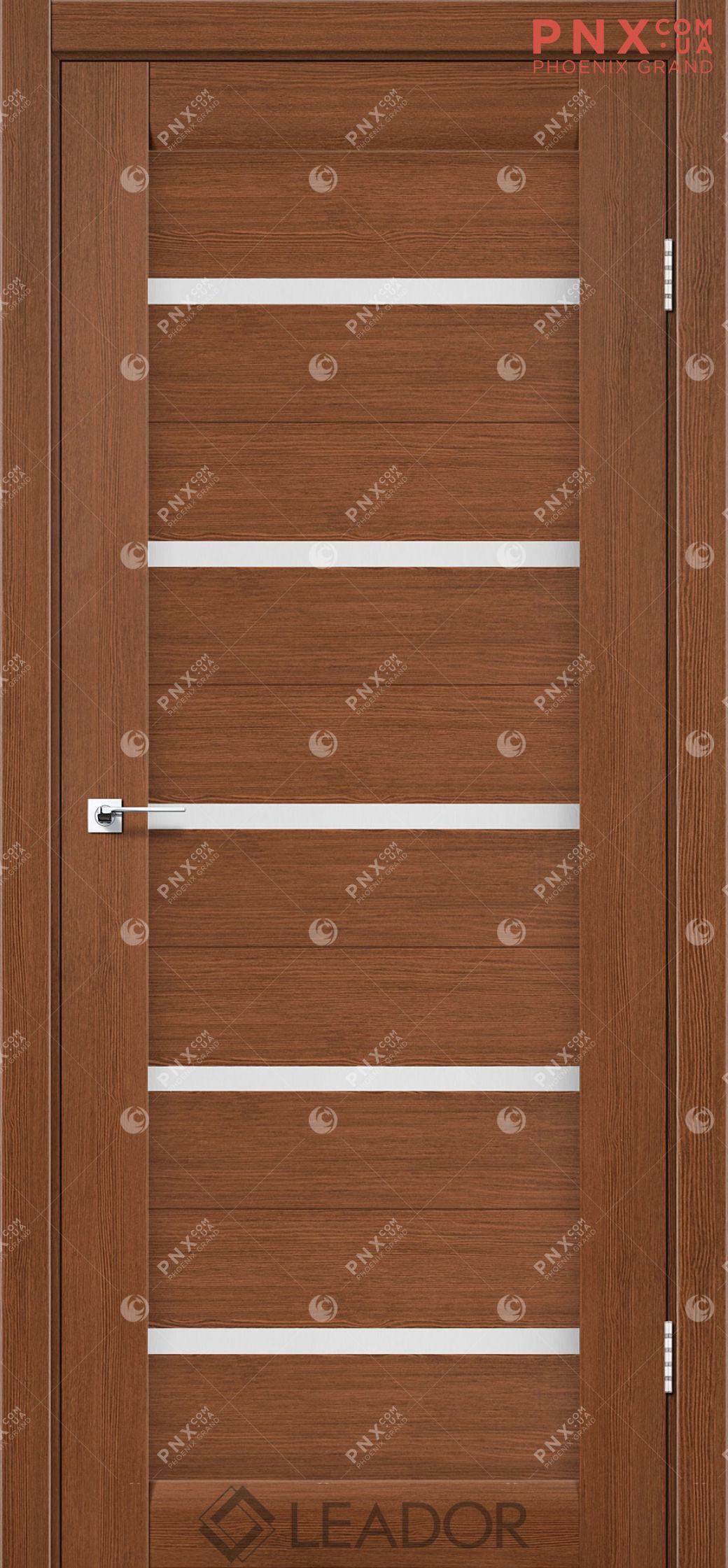 Межкомнатная дверь LEADOR Siena, Браун, Белое стекло сатин