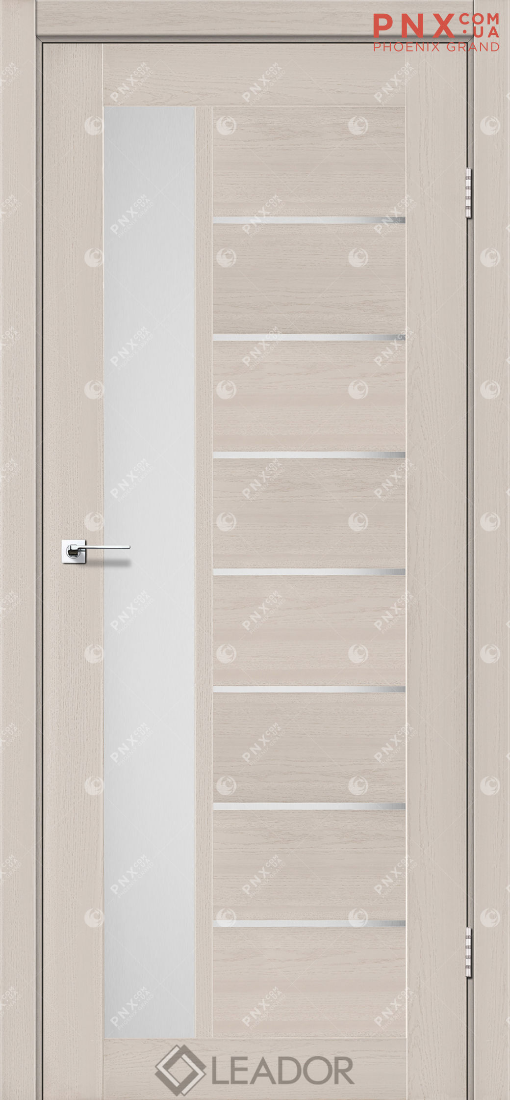 Межкомнатная дверь LEADOR Lorenza, Дуб Латте, Белое стекло сатин