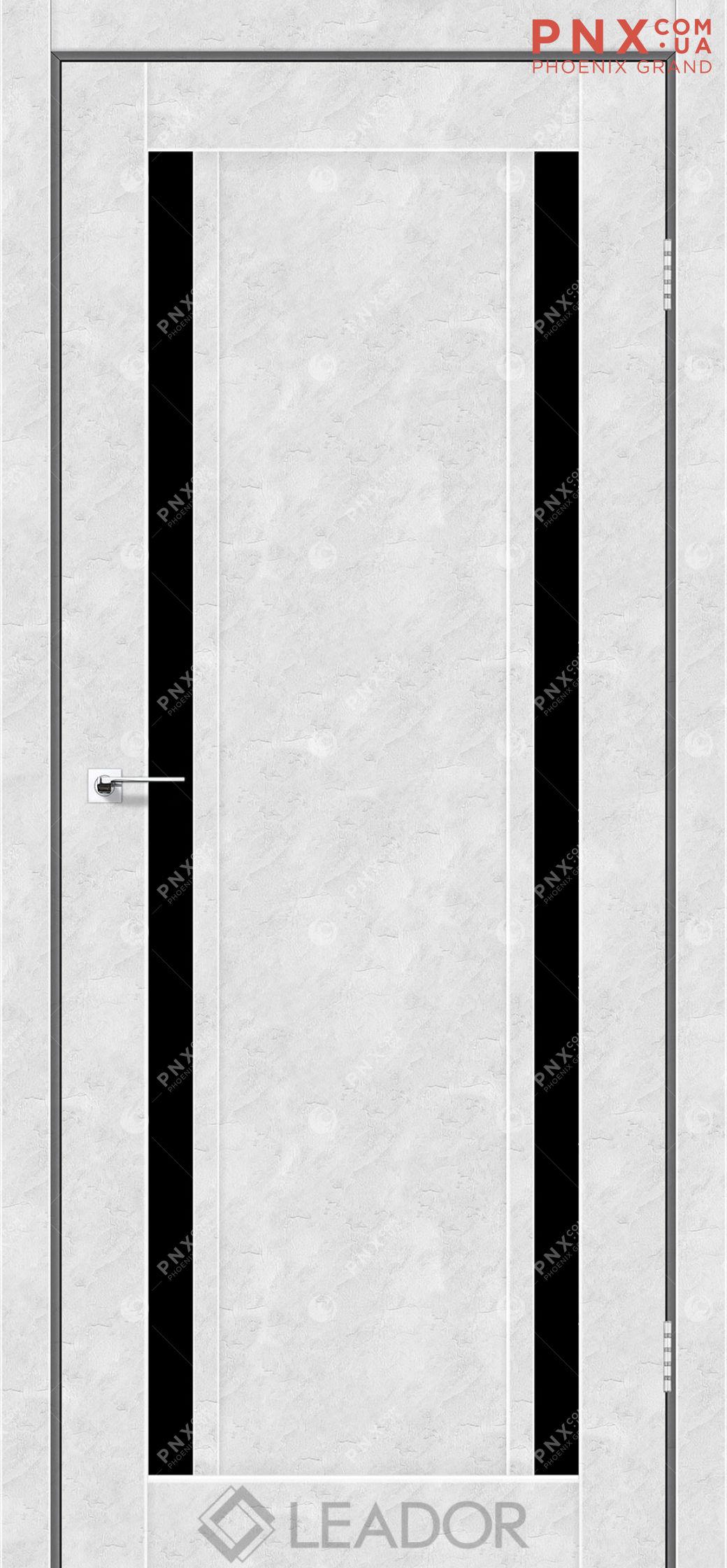Межкомнатная дверь LEADOR Catania, Бетон Белый, Черное стекло