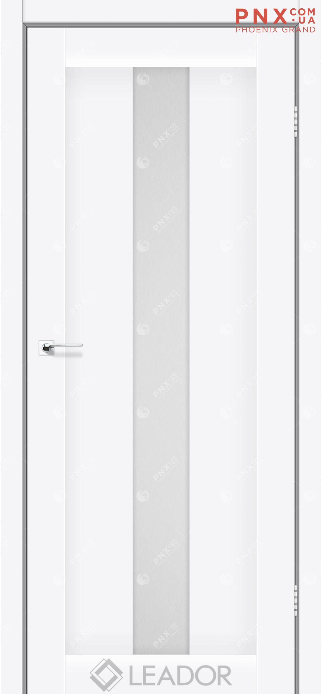 Межкомнатная дверь LEADOR Bari, Белый матовый, Белое стекло сатин