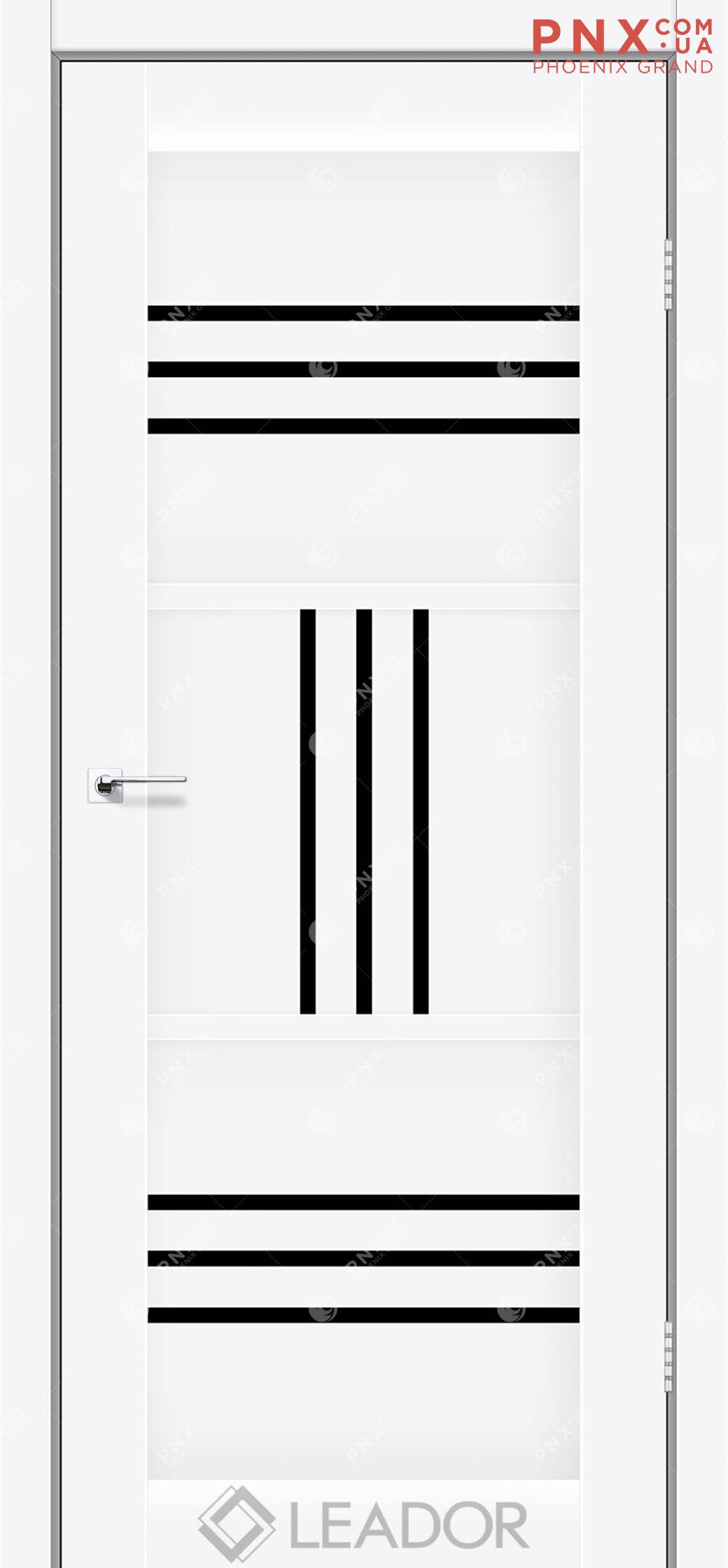 Межкомнатная дверь LEADOR Gela, Белый матовый, Черное стекло