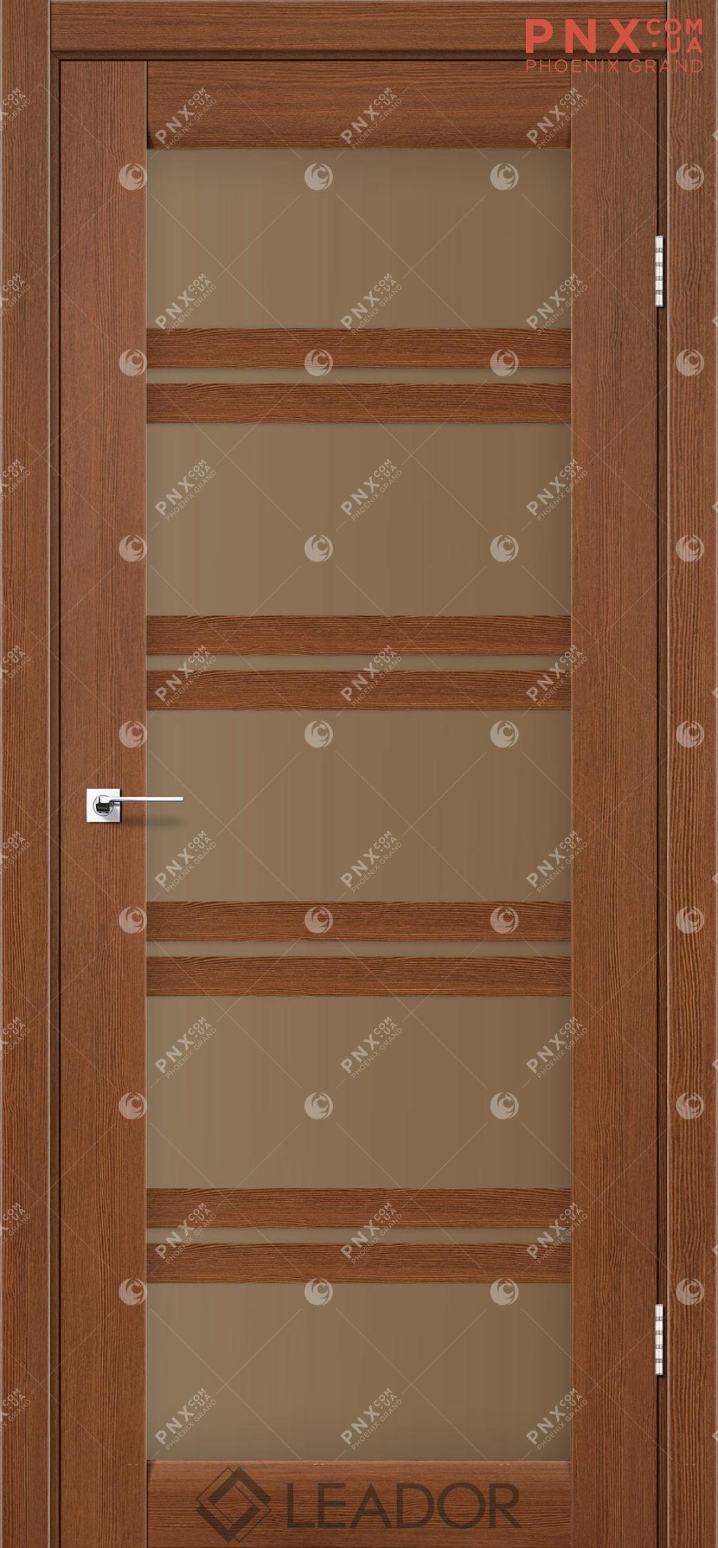 Межкомнатная дверь LEADOR Lodi, Браун, Стекло сатин бронза