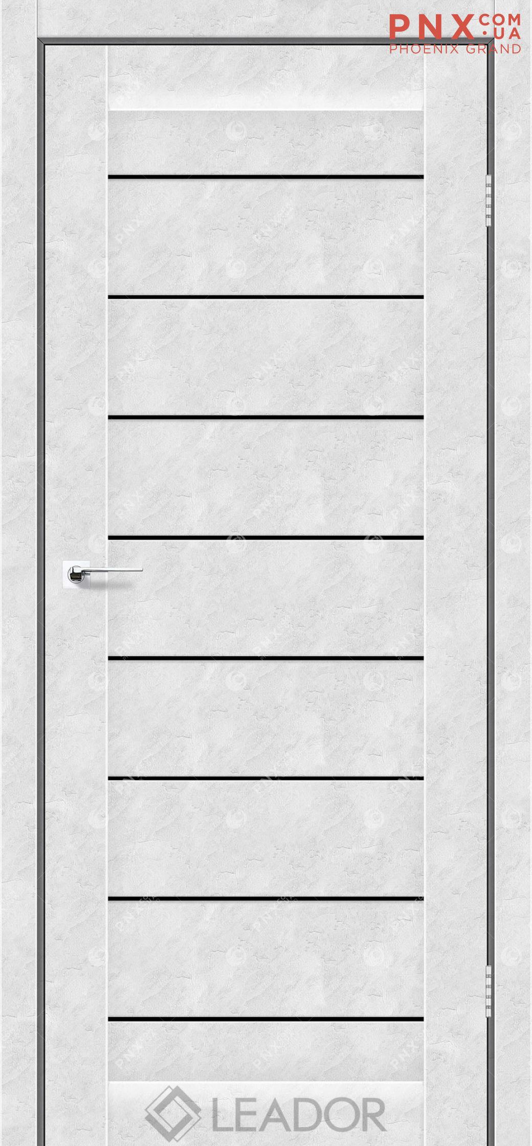Межкомнатная дверь LEADOR Neapol, Бетон Белый, Черное стекло