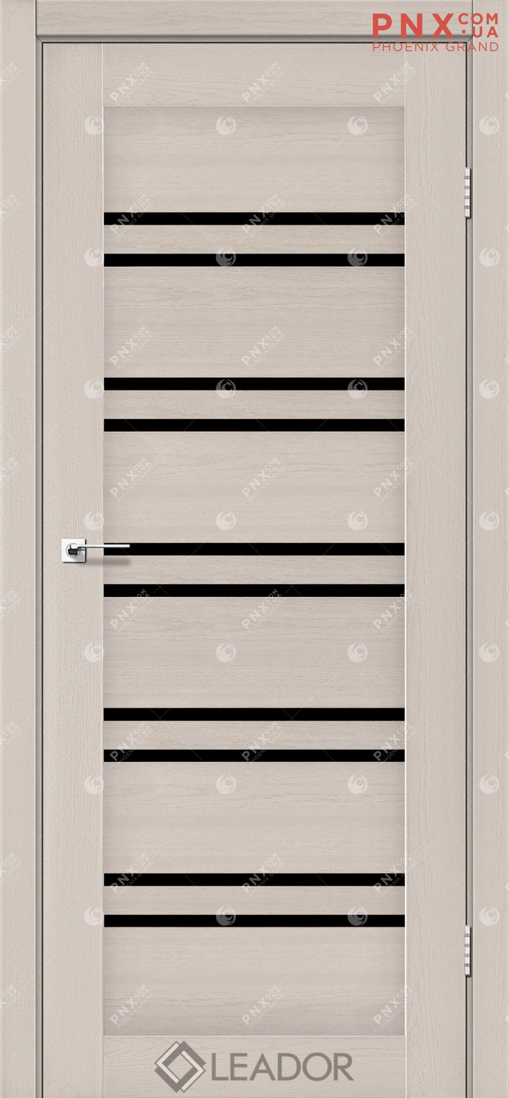 Межкомнатная дверь LEADOR Sicilia, Дуб Латте, Черное стекло