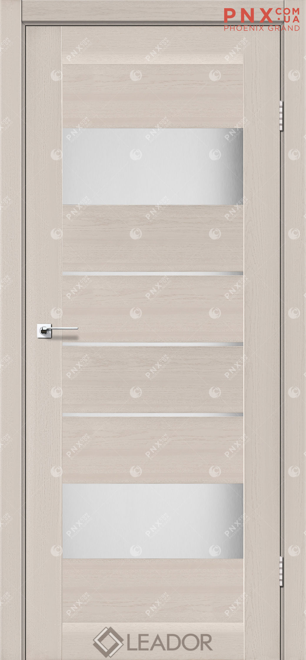 Межкомнатная дверь LEADOR Arona, Дуб Латте, Белое стекло сатин