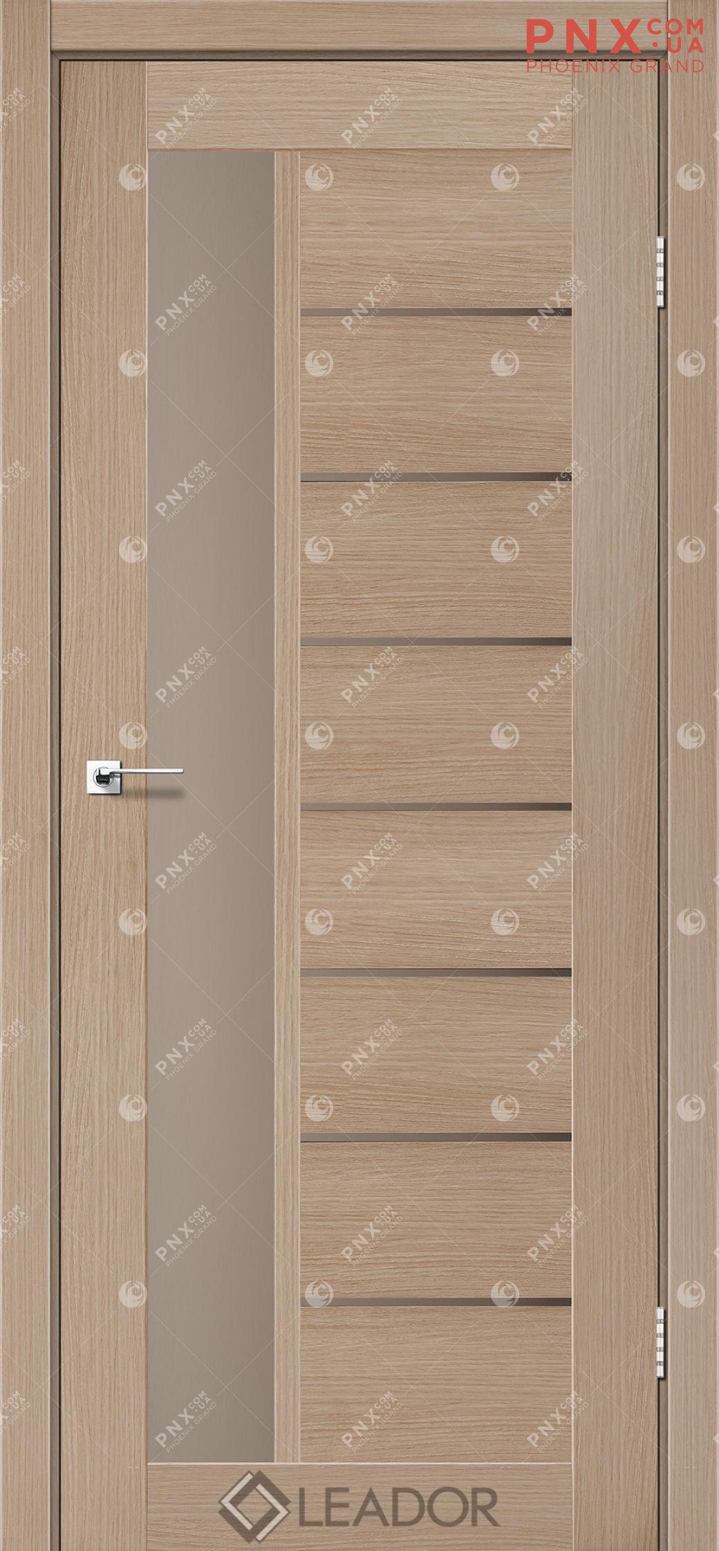 Межкомнатная дверь LEADOR Lorenza, Дуб Мокко, Стекло сатин бронза