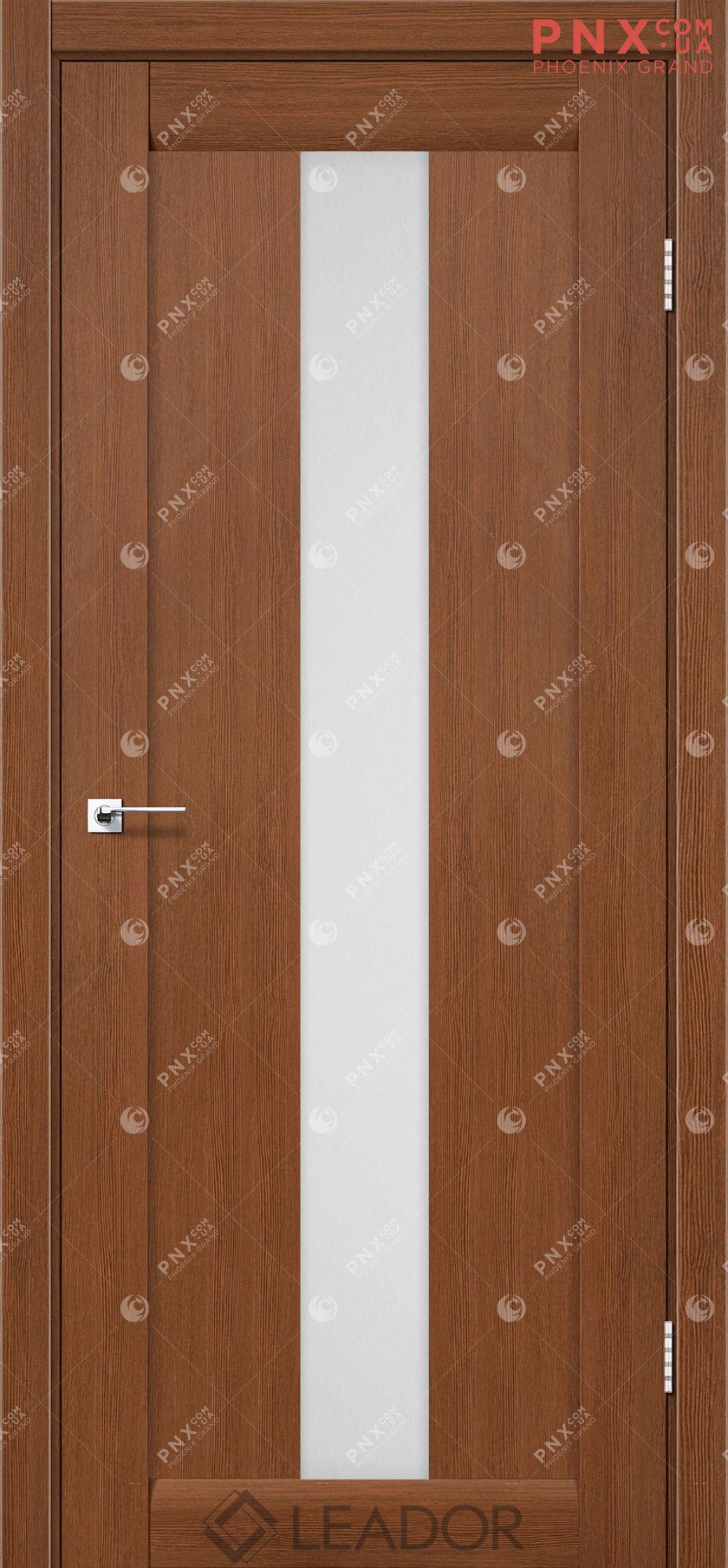 Межкомнатная дверь LEADOR Bari, Браун, Белое стекло сатин