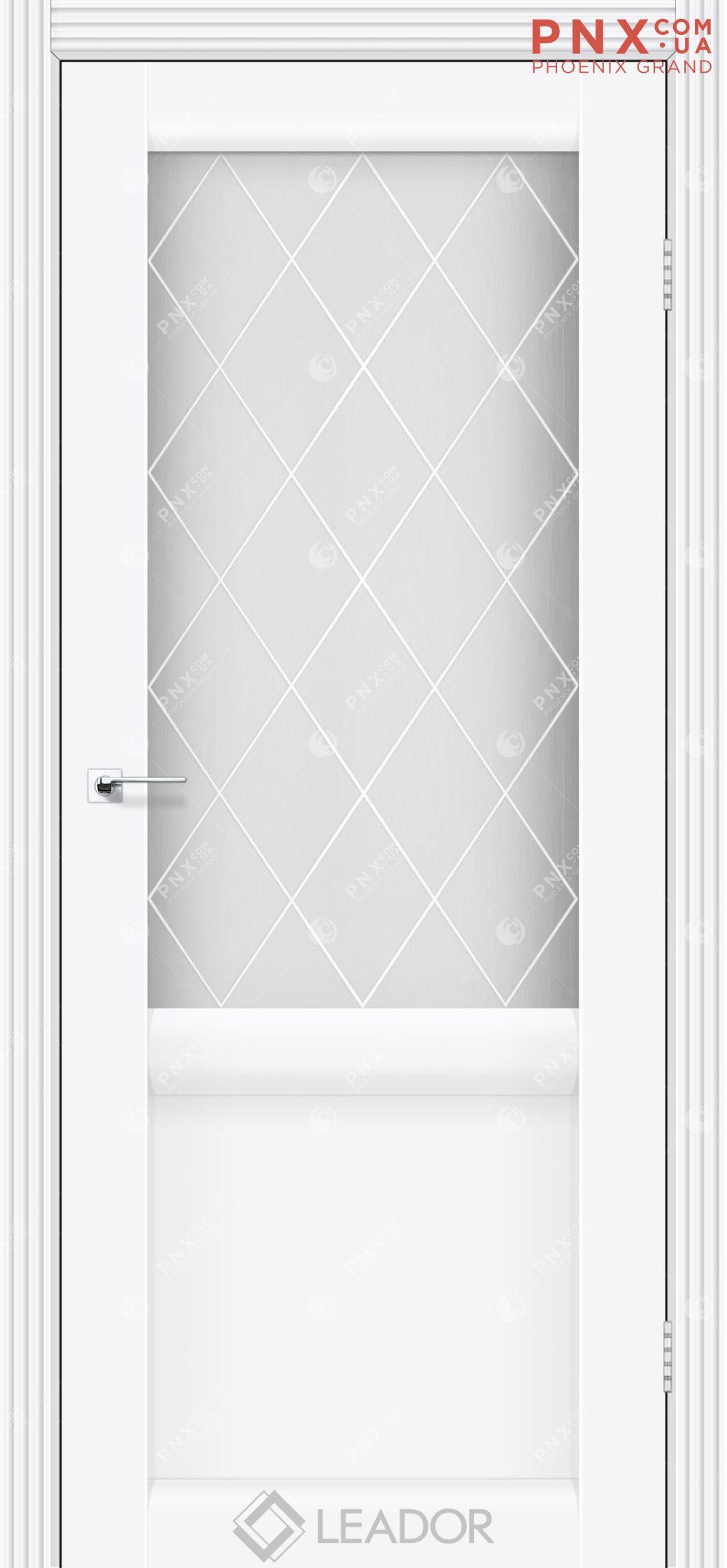Межкомнатная дверь LEADOR Laura LR-01, Белый матовый, Белое стекло сатин+L1