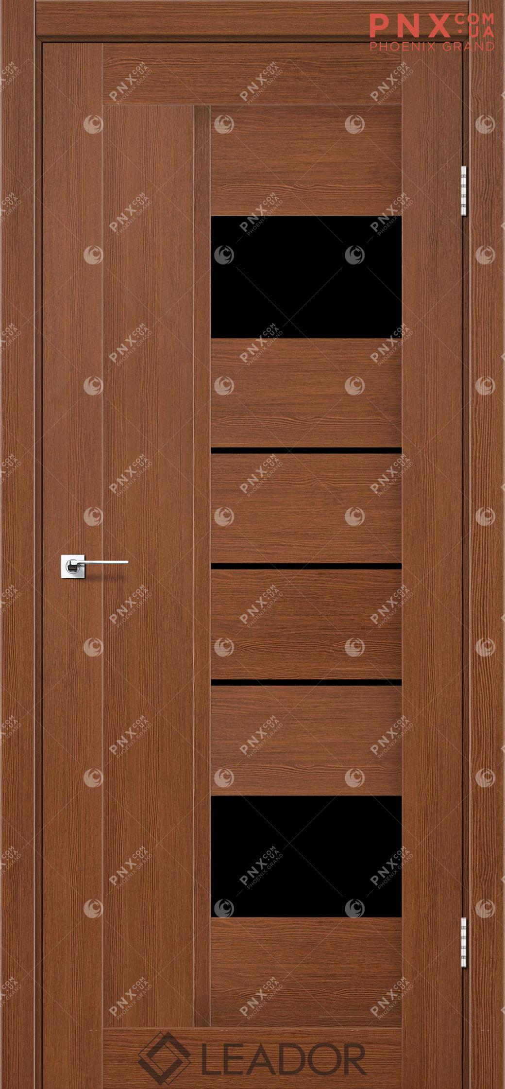 Межкомнатная дверь LEADOR Como, Браун, Черное стекло