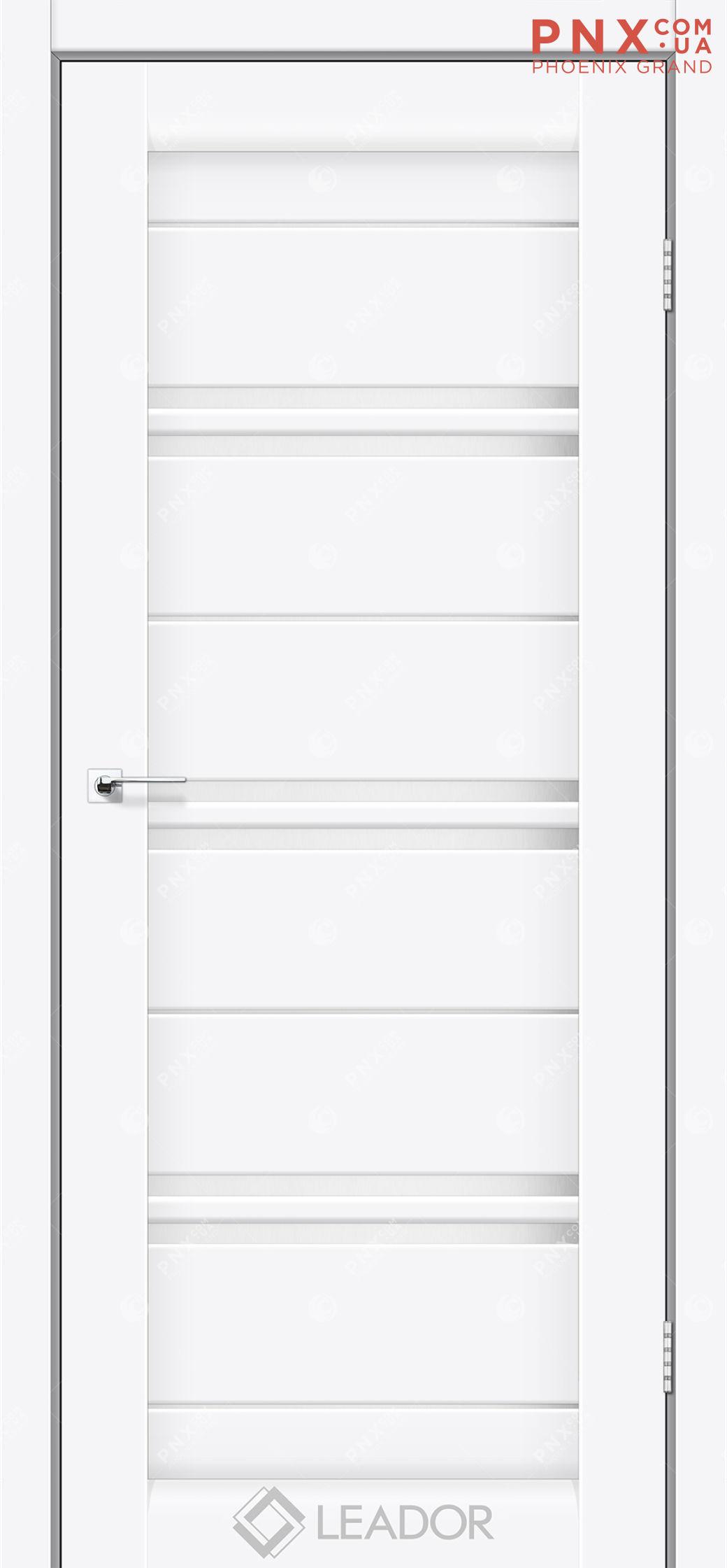 Межкомнатная дверь LEADOR Malta, Белый матовый, Белое стекло сатин