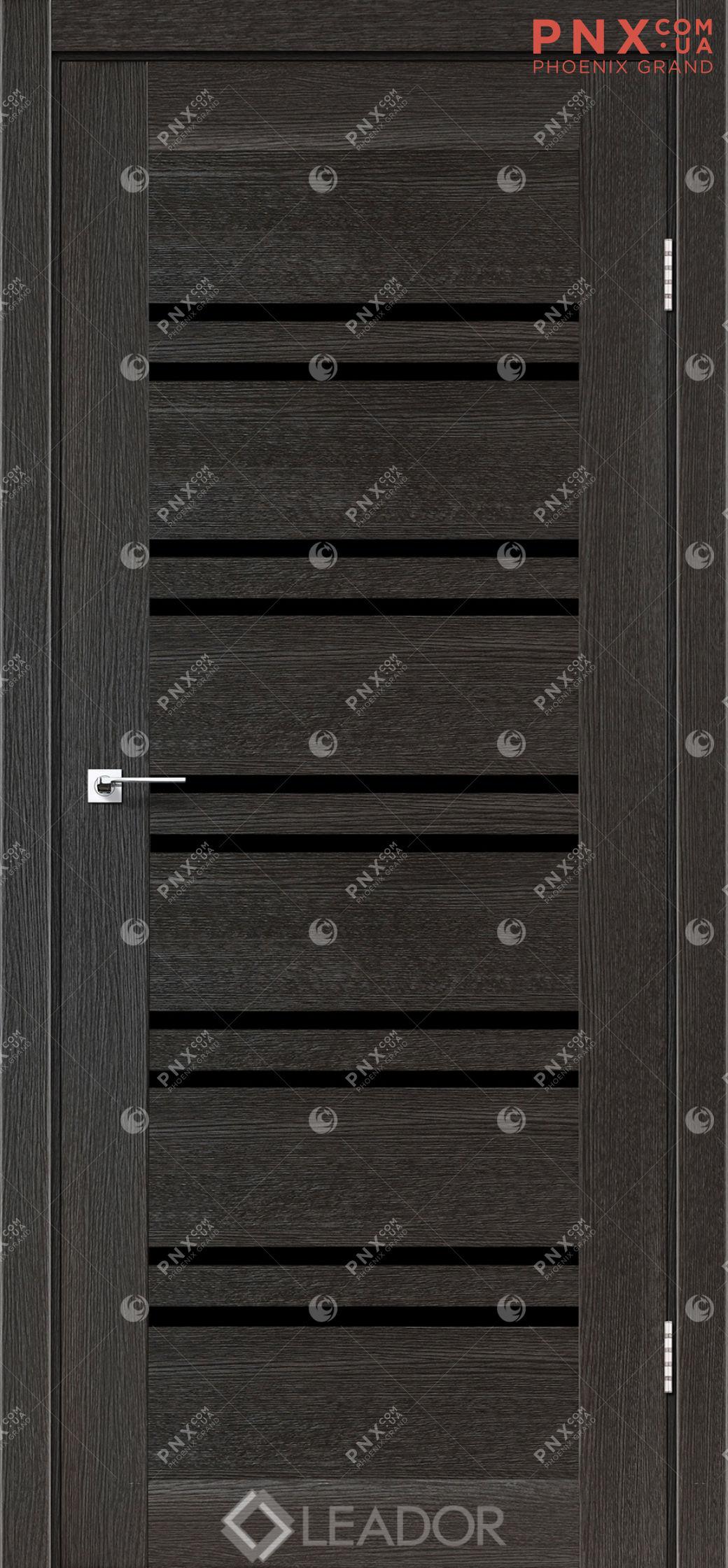 Межкомнатная дверь LEADOR Sicilia, Дуб Саксонский, Черное стекло