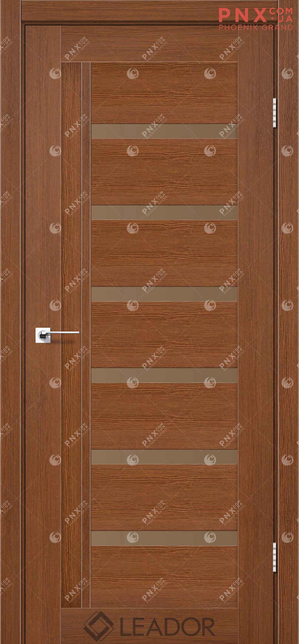 Межкомнатная дверь LEADOR Amelia, Браун, Стекло сатин бронза