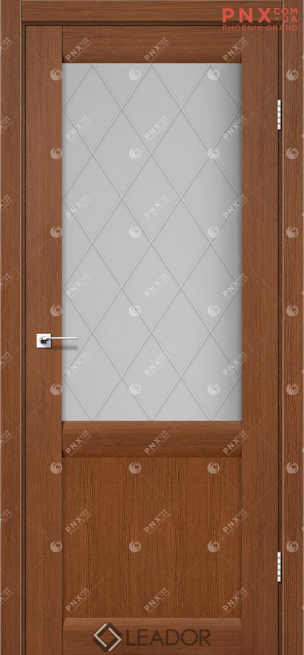 Межкомнатная дверь LEADOR Laura LR-01, Браун, Белое стекло сатин+L1
