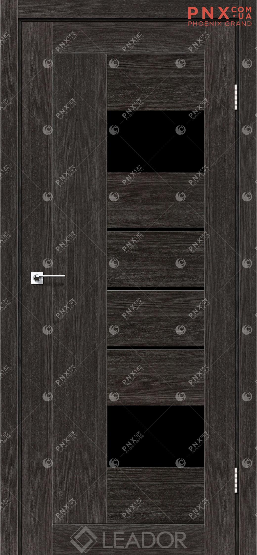 Межкомнатная дверь LEADOR Como, Дуб Саксонский, Черное стекло