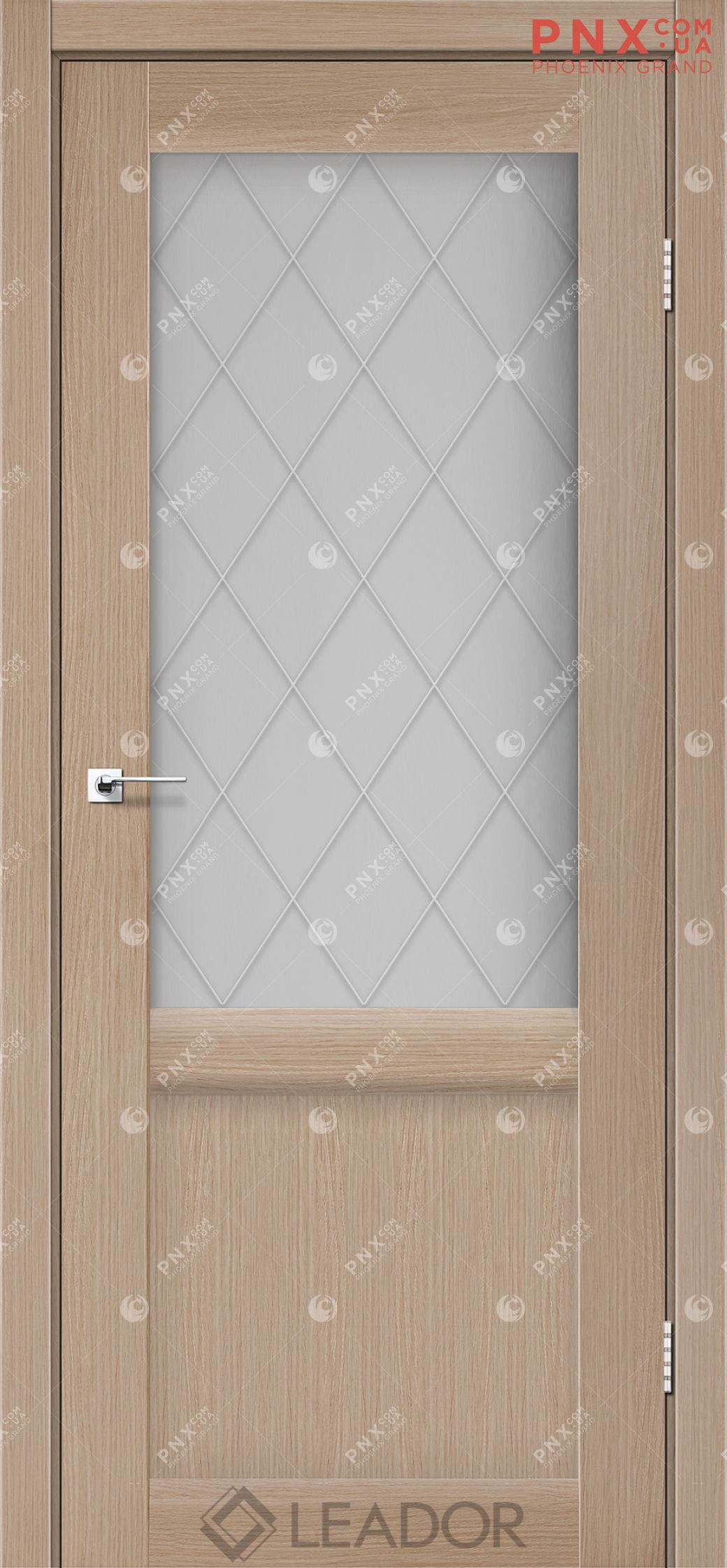 Межкомнатная дверь LEADOR Laura LR-01, Дуб Мокко, Белое стекло сатин +L1