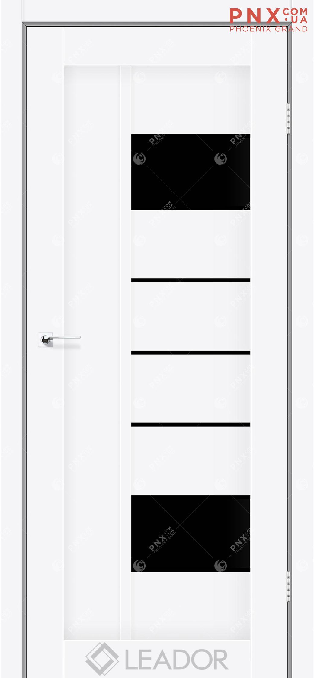 Межкомнатная дверь LEADOR Como, Белый матовый, Черное стекло