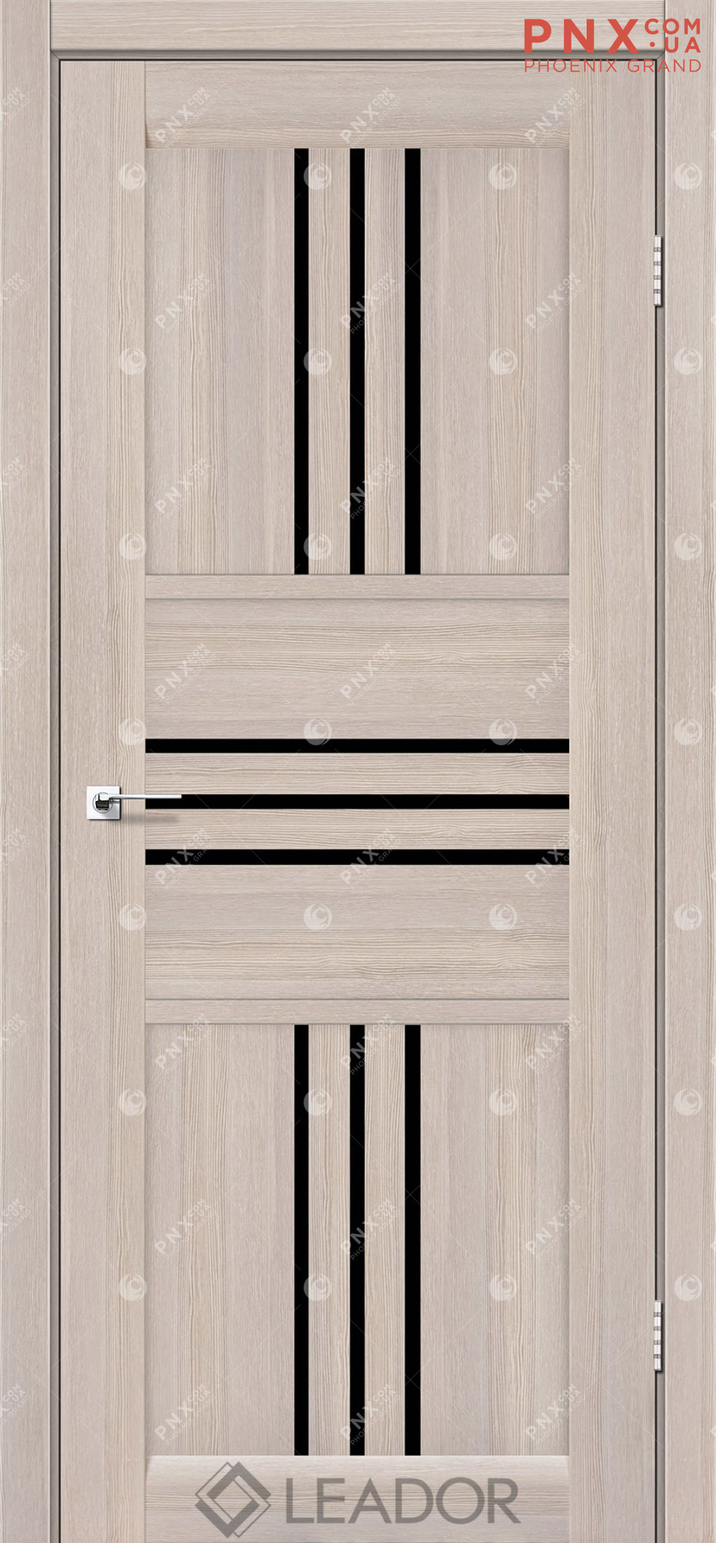 Межкомнатная дверь LEADOR Rona, Монблан, Черное стекло