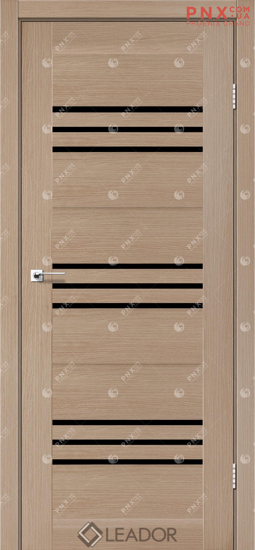 Межкомнатная дверь LEADOR Sovana, Дуб Мокко, Черное стекло