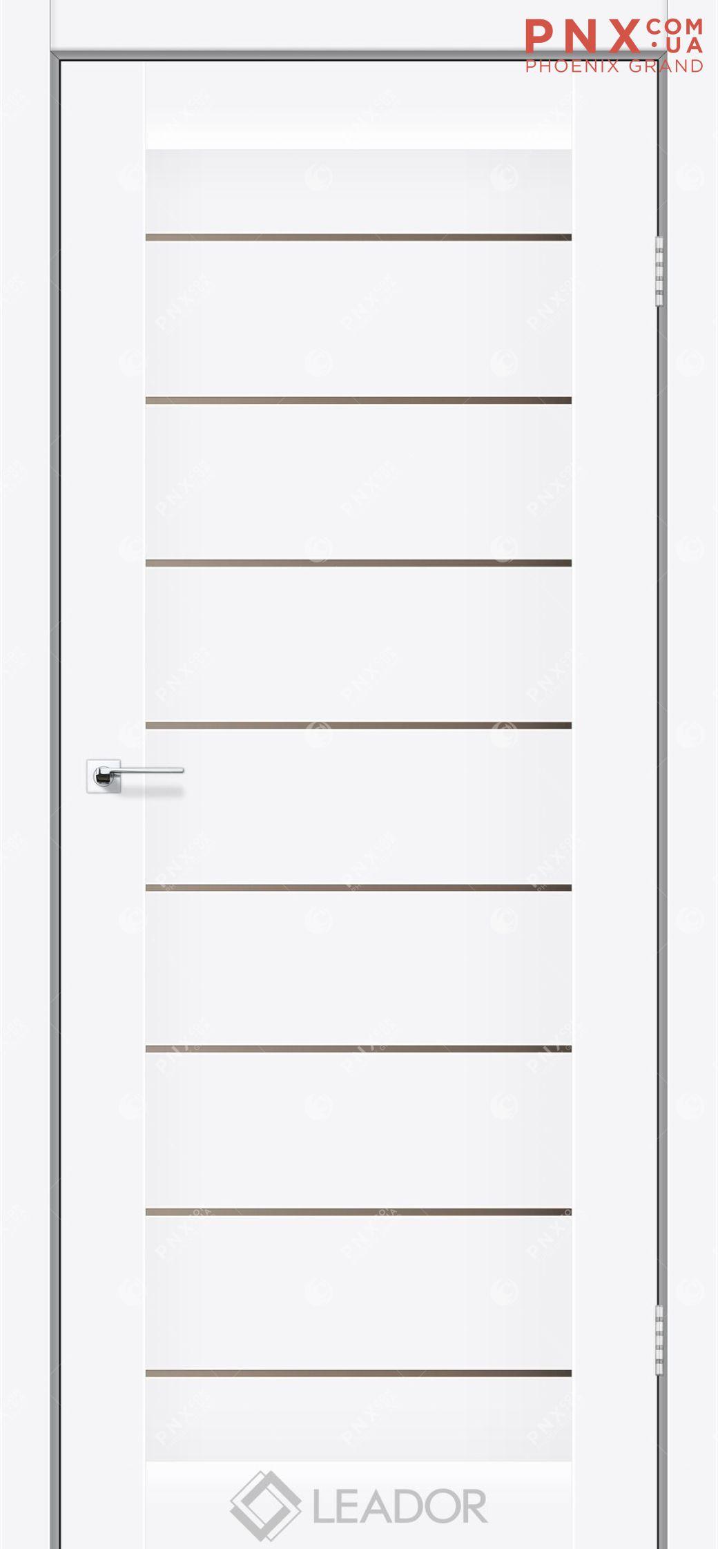Межкомнатная дверь LEADOR Neapol, Matt White BR, Белое стекло сатин