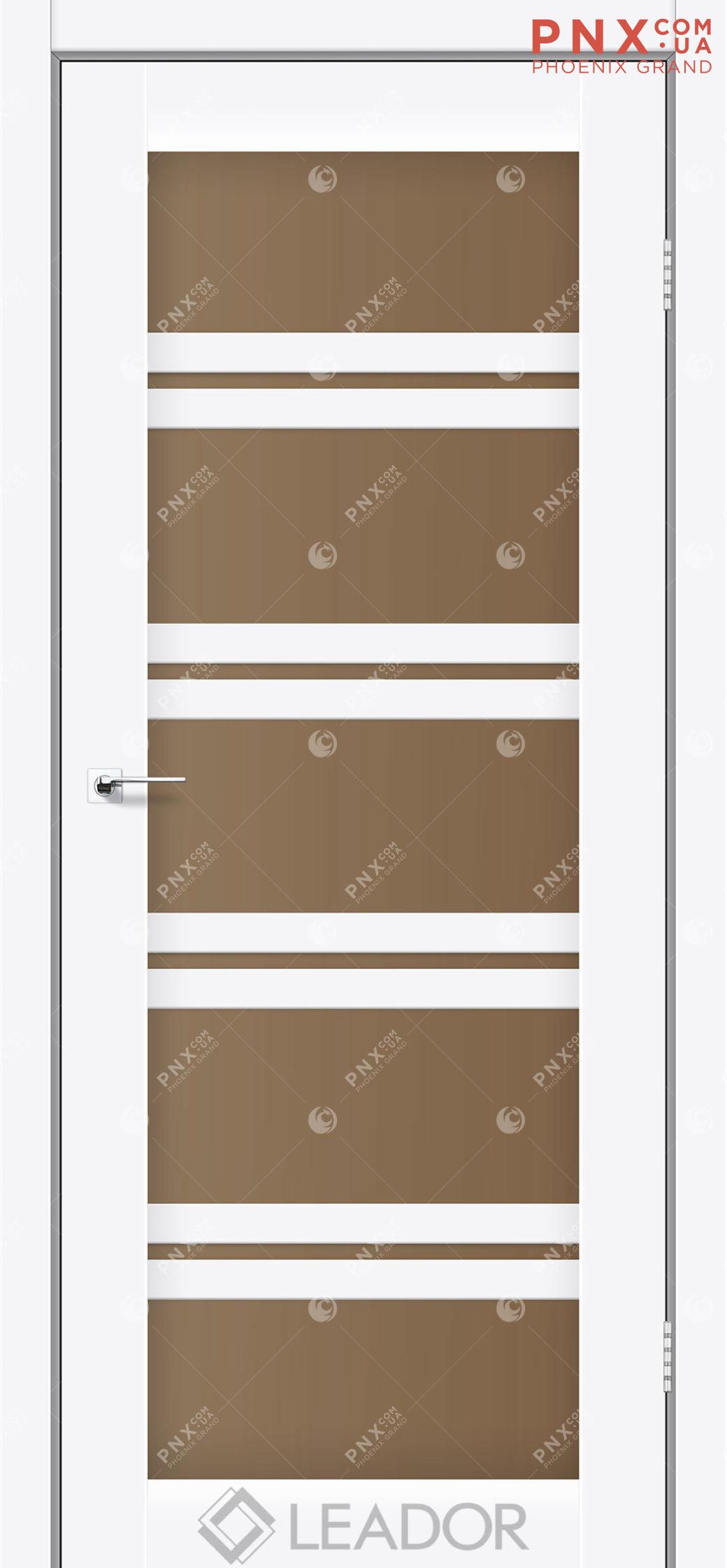 Межкомнатная дверь LEADOR Lodi, Белый матовый, Стекло сатин бронза