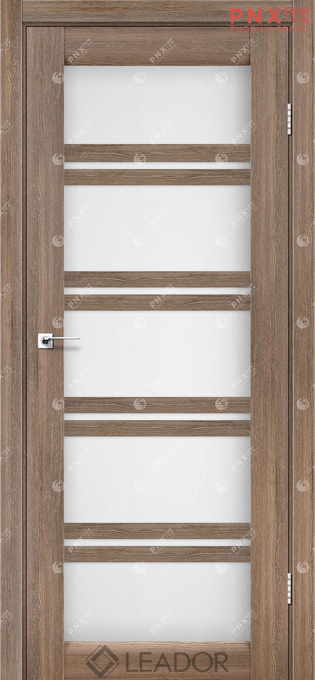 Межкомнатная дверь LEADOR Lodi, Серое дерево, Белое стекло сатин