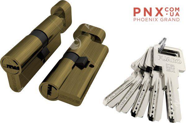 Цилиндровый механизм с вертушкой R602/70 mm (30+10+30) AB бронза 5 кл. FUARO (с индивидуальным ключом)